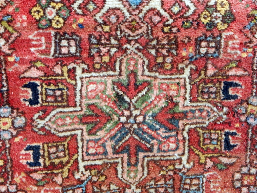 Lot 10 - Oriental pattern wool rug with three medallions, in a pink field, floral design together with a