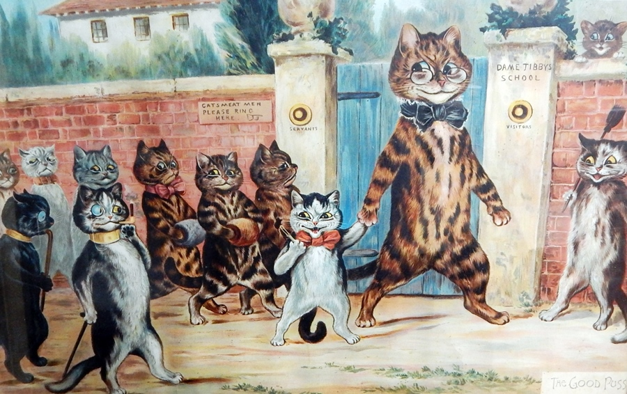 """Lot 22 - Louis Wain Early 20th century print """"The Good Puss"""", framed and glazed  Live Bidding: If you would"""
