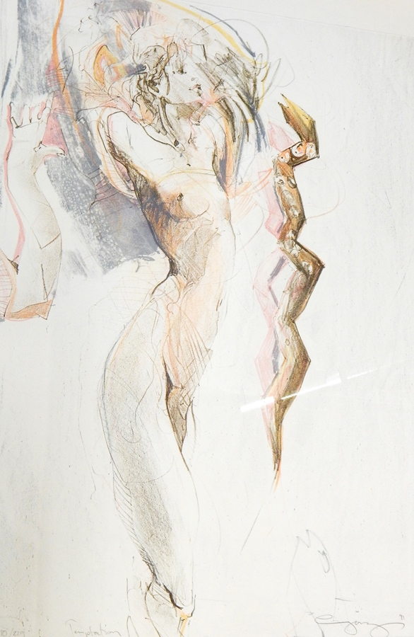 "Lot 16A - Jurgen Gorg Limited edition print  ""Temptation"", stylised nude study, signed, dated 1991, No."