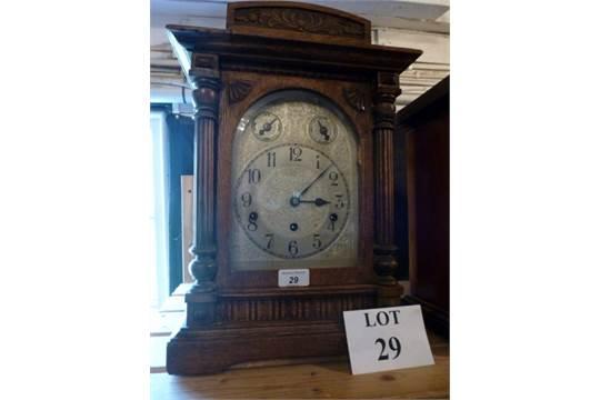 An oak cased German Westminster chime mantel clock c1900