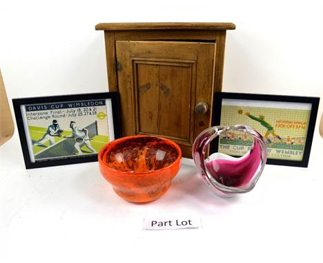 Mixed group of items, Flygsfors  Sweden, signed cased pink white  glass,  other glassware and ceramics, a small pine wall ca