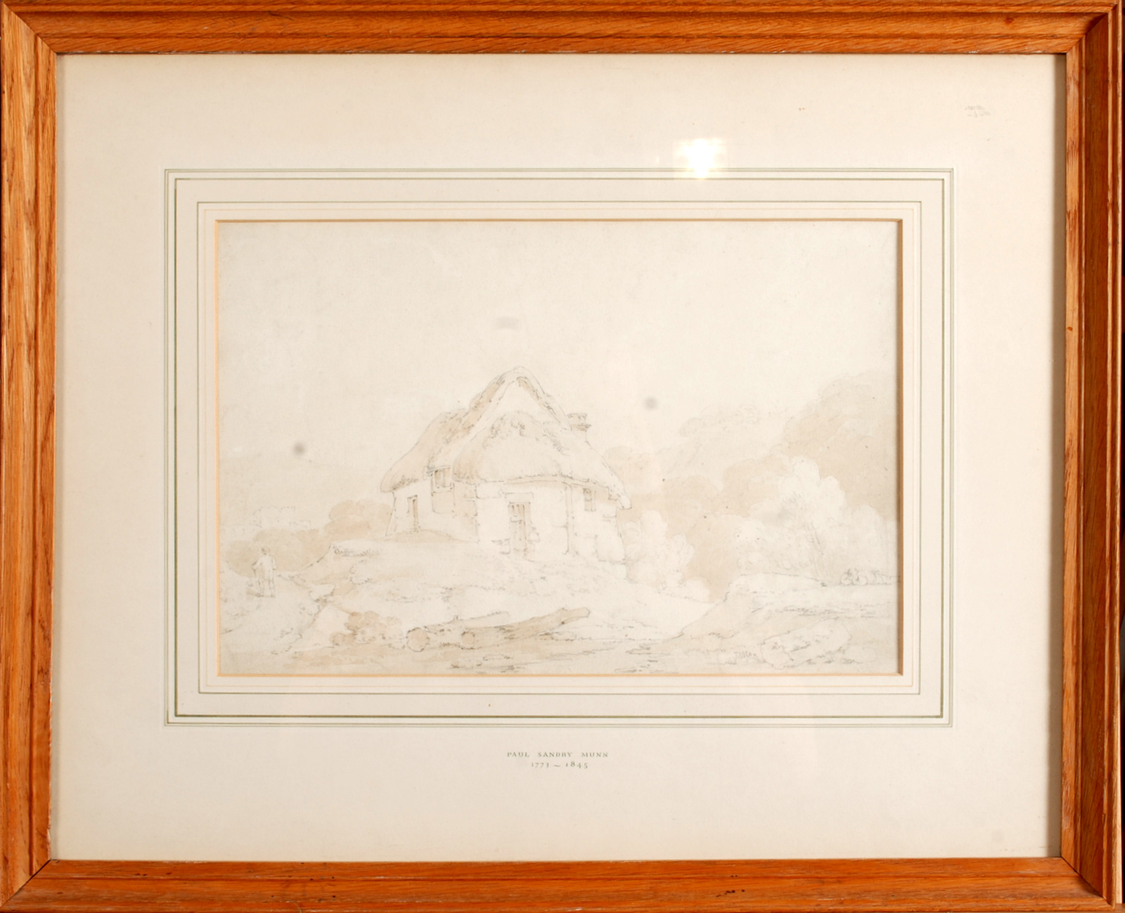 Lot 59 - PAUL SANDBY MUNN A Country Cottage Pen and wash Inscribed in the mount 21 x 31 cm