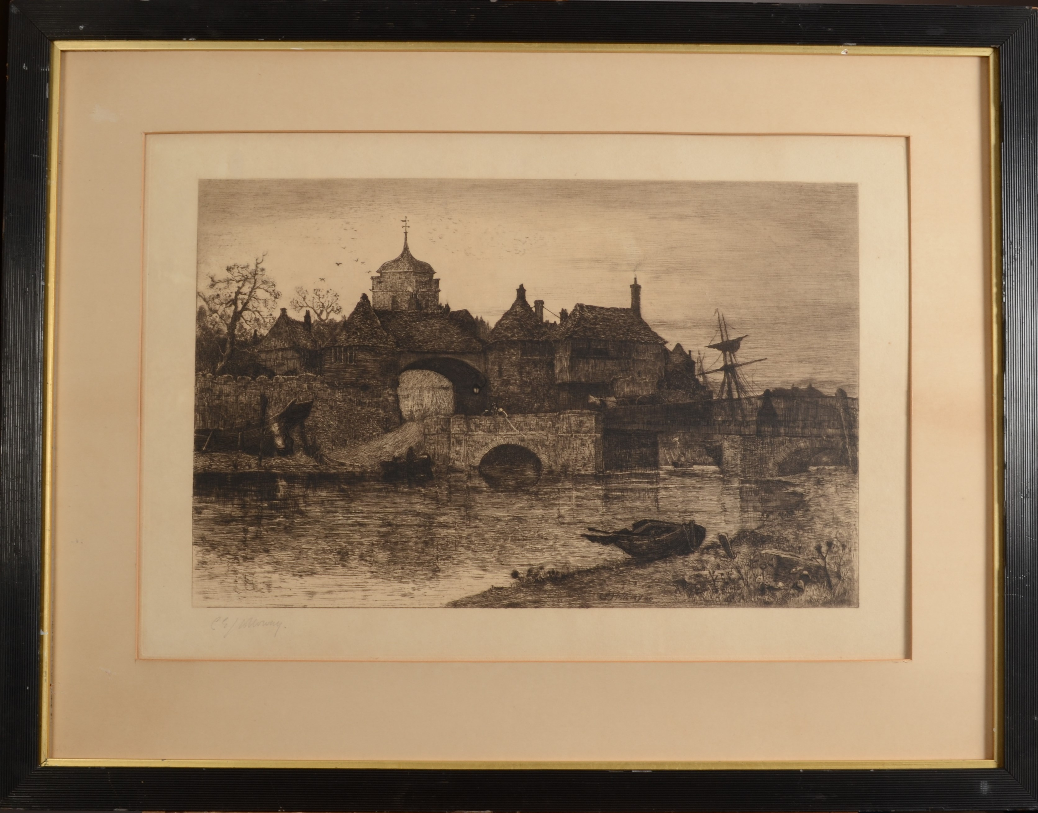 Lot 34 - CHARLES EDWARD HOLLOWAY Ships in an Estuary Engraving Signed in pencil 1882 33 x 44 cm Plus 5 other