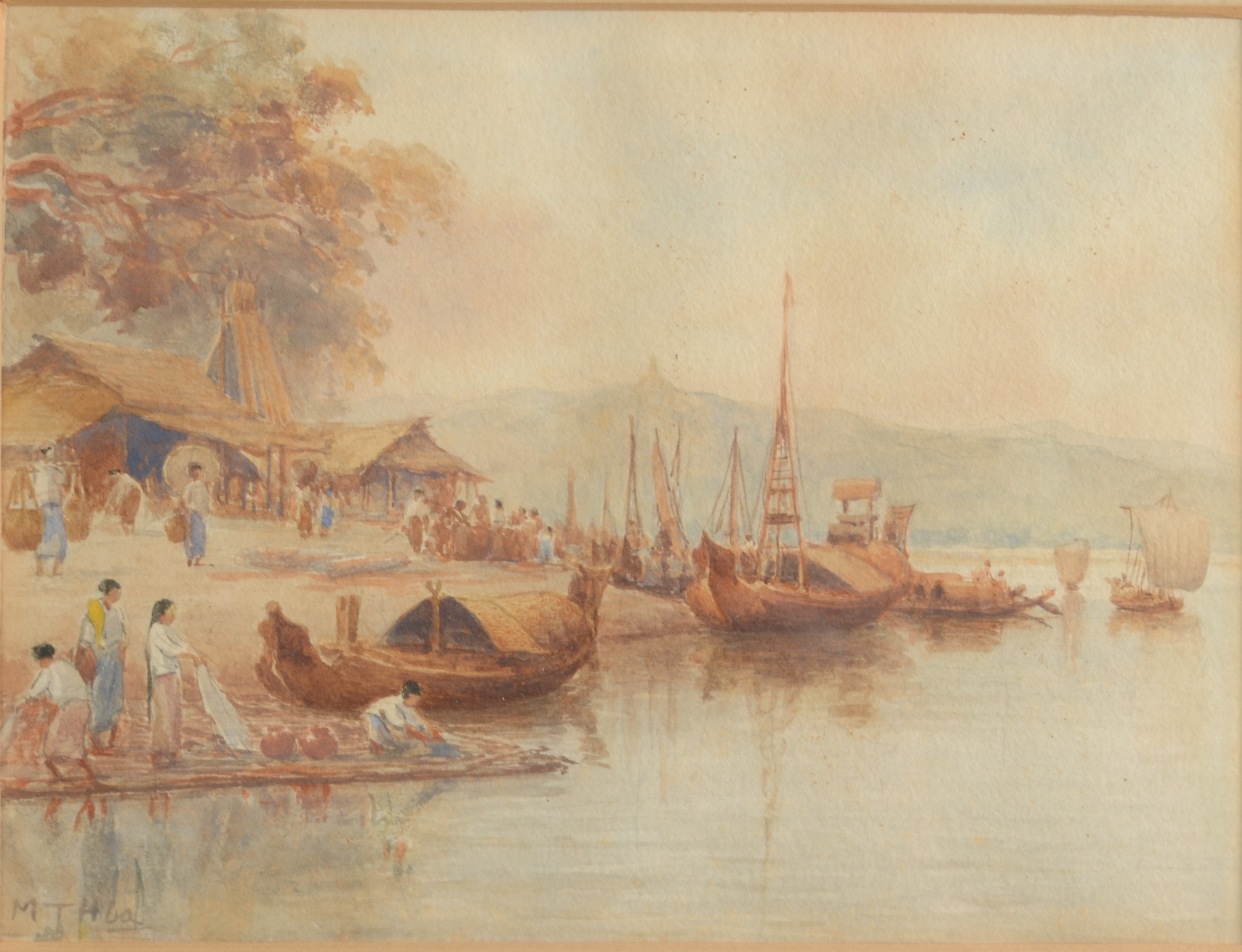 Lot 42 - MG TUN HLA Village Activities by The River Watercolour Signed 14 x 19 cm