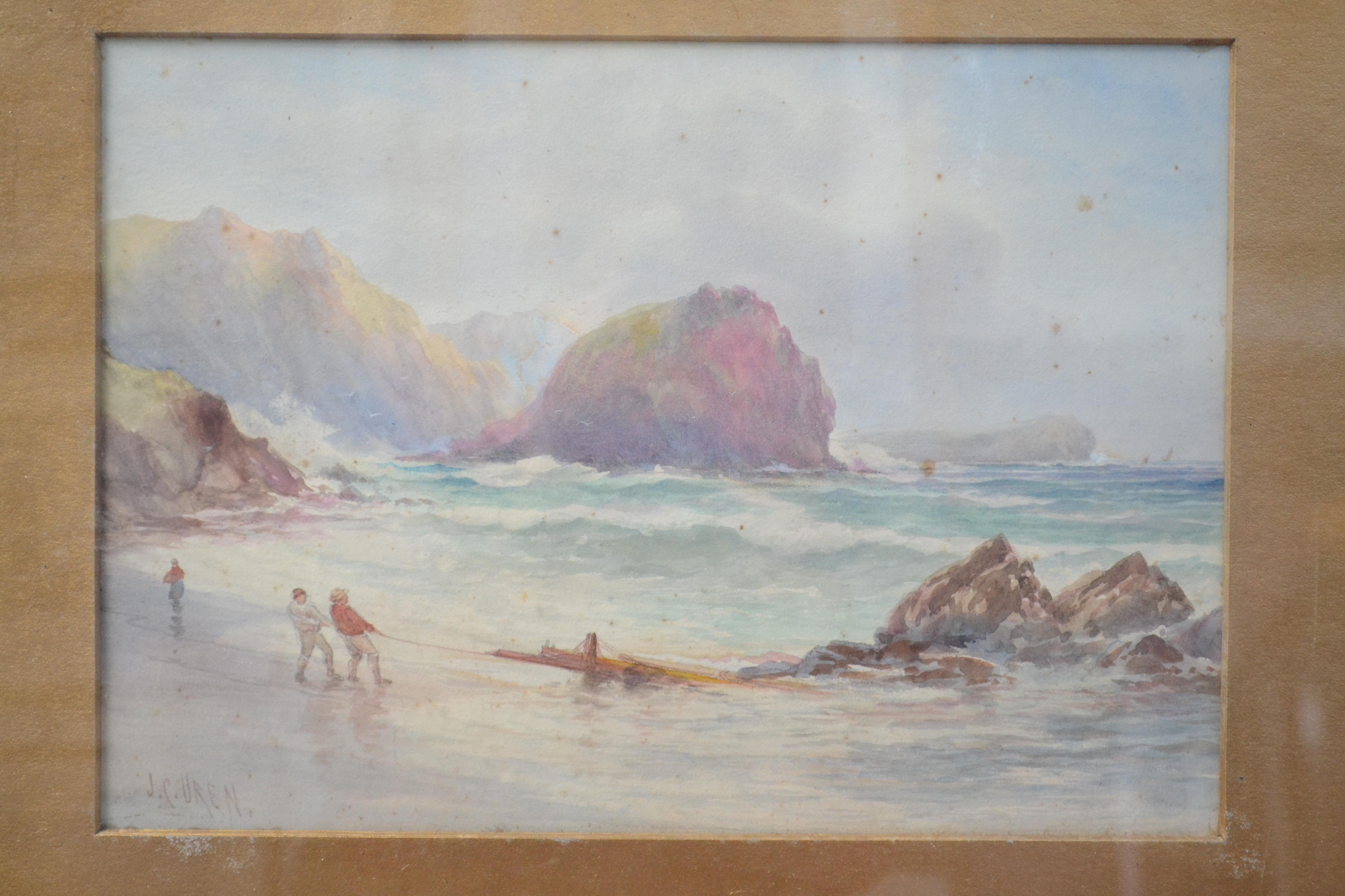 Lot 26 - JOHN CLARKE ISAAC UREN Retrieving From The Sea Watercolour Signed 34 x 24 cm