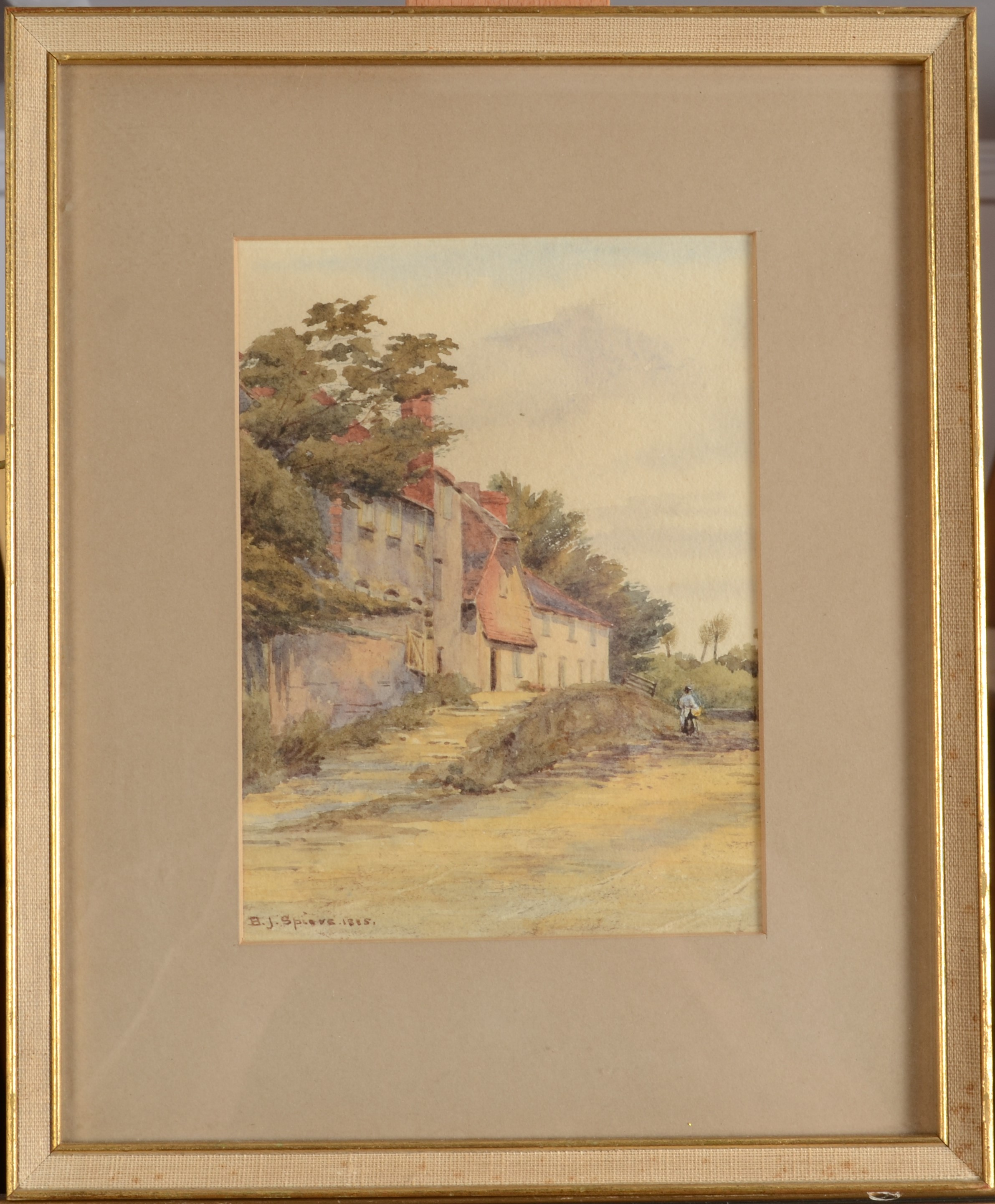 Lot 41 - BESSIE J SPIERS A Rural Scene Watercolour Signed and dated 1815 16 x 12 cm