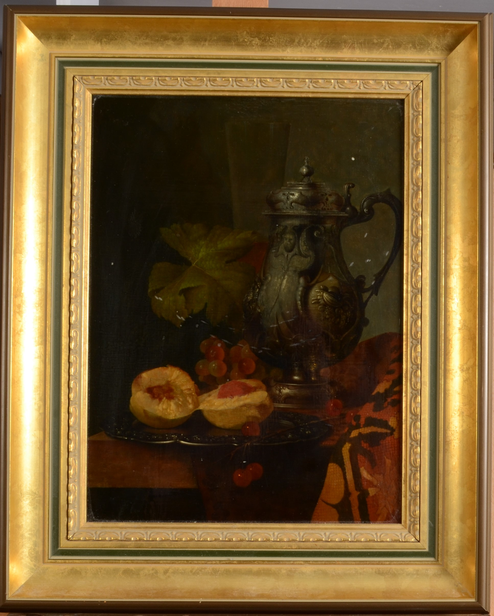 Lot 45 - ANDREAS GYULA BUBARNIK Still Life With Grapes and Peweter Oil on board 38 x 29 cm
