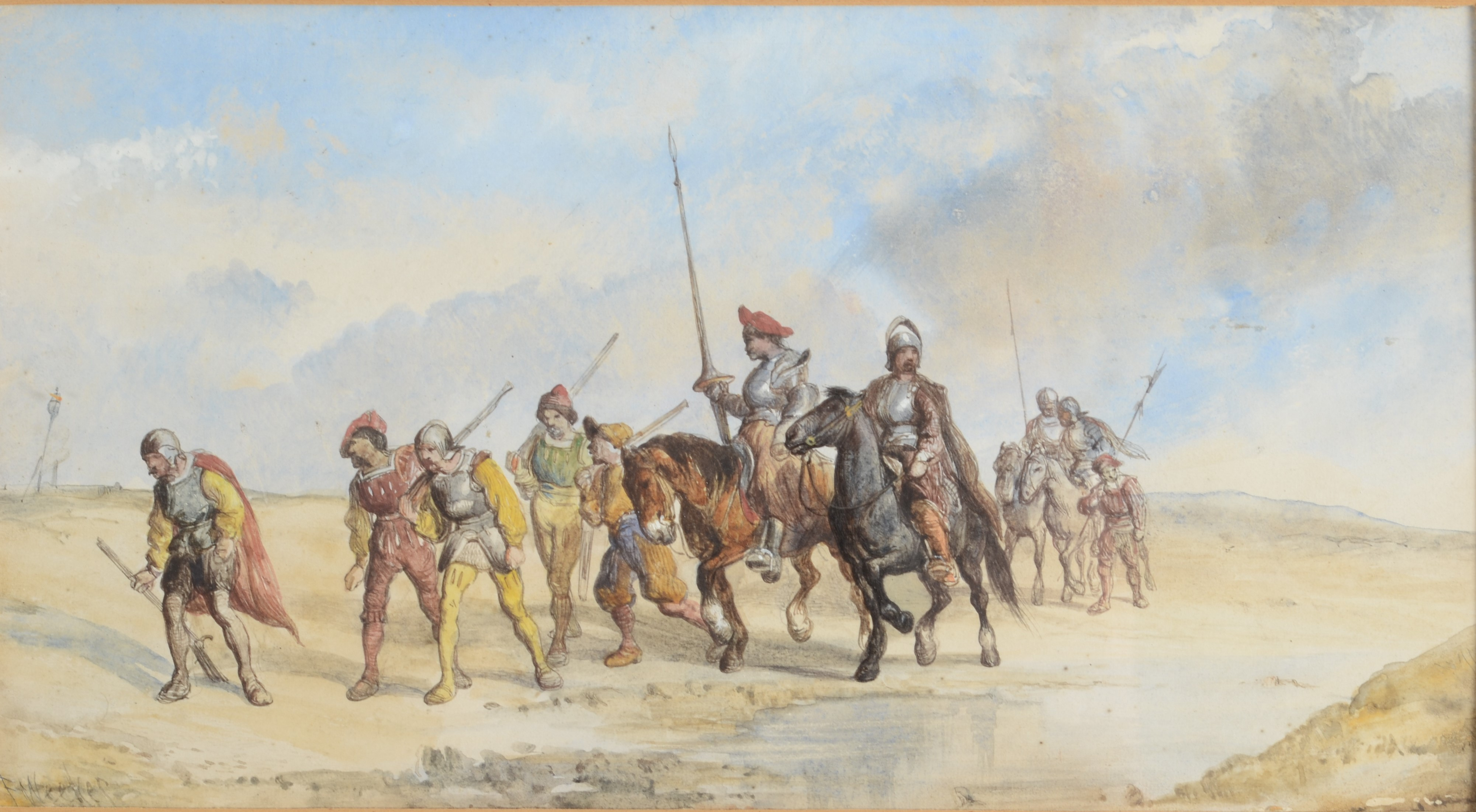 Lot 46 - FREDERICK WEEKES Retreating troops Watercolour Signed 14 x 25 cm