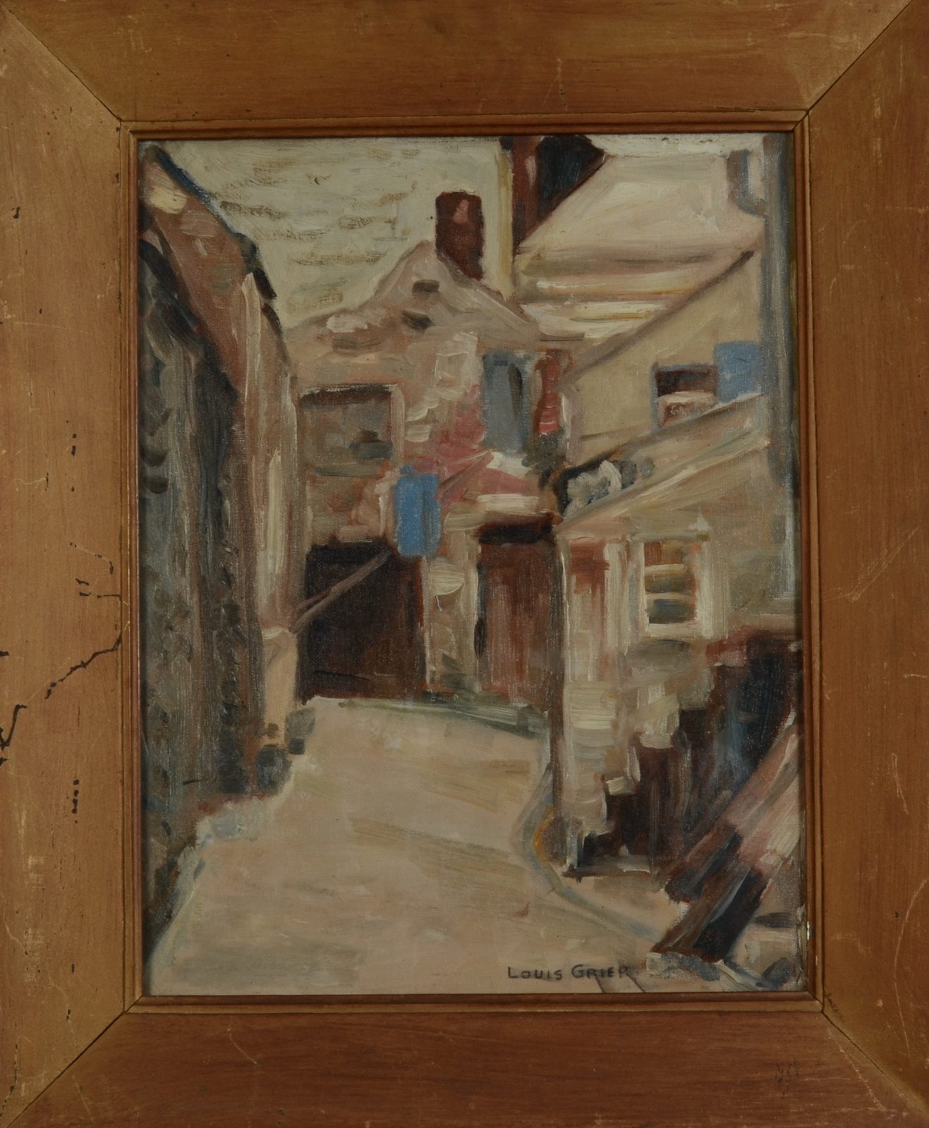Lot 35 - LOUIS MONRO GRIER A Street View Oil on canvas Signed 46 x 36 cm