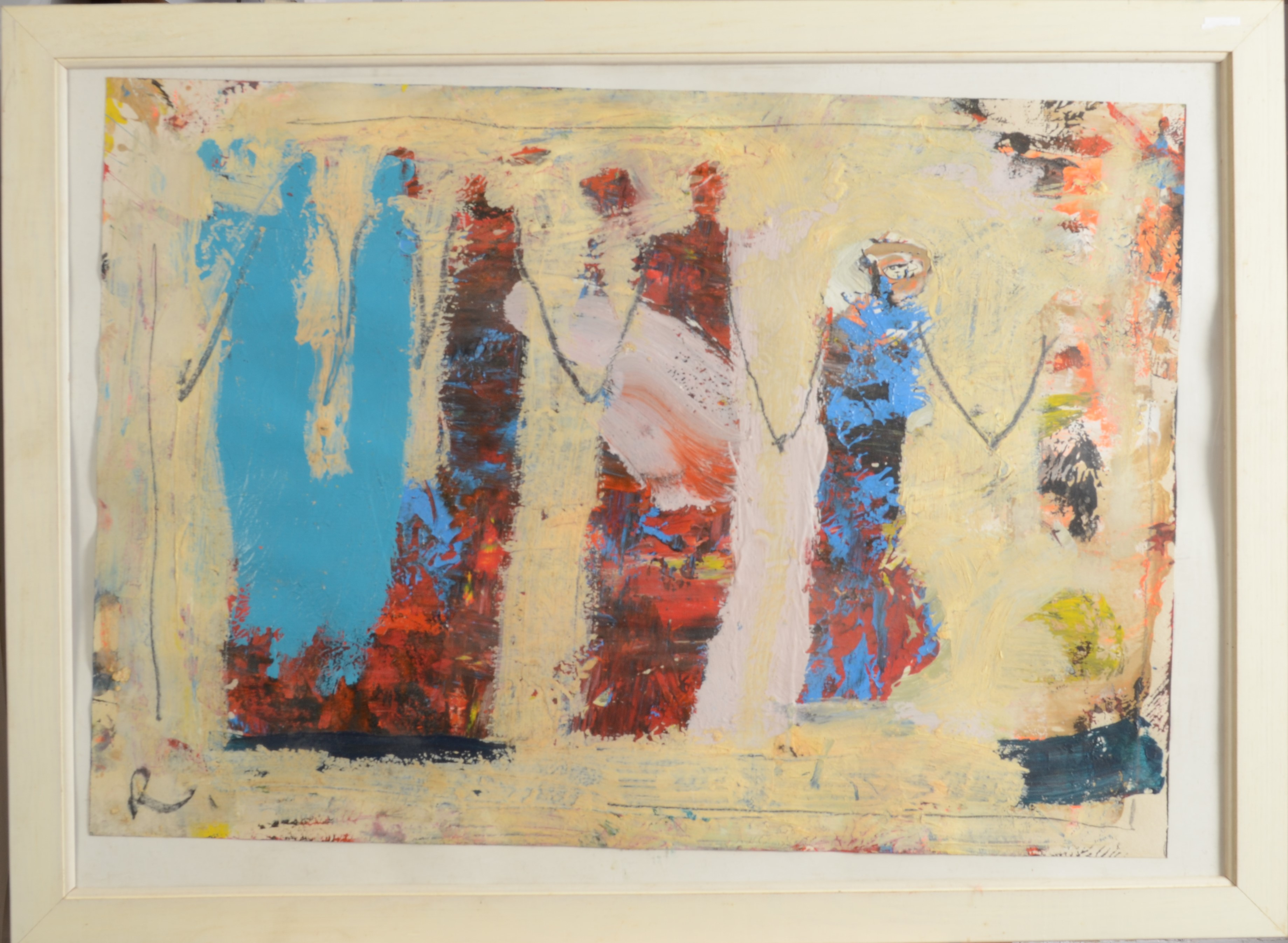 Lot 25 - PAUL WADSWORTH Five Figures Mixed media Initialled 45 x 63 cm