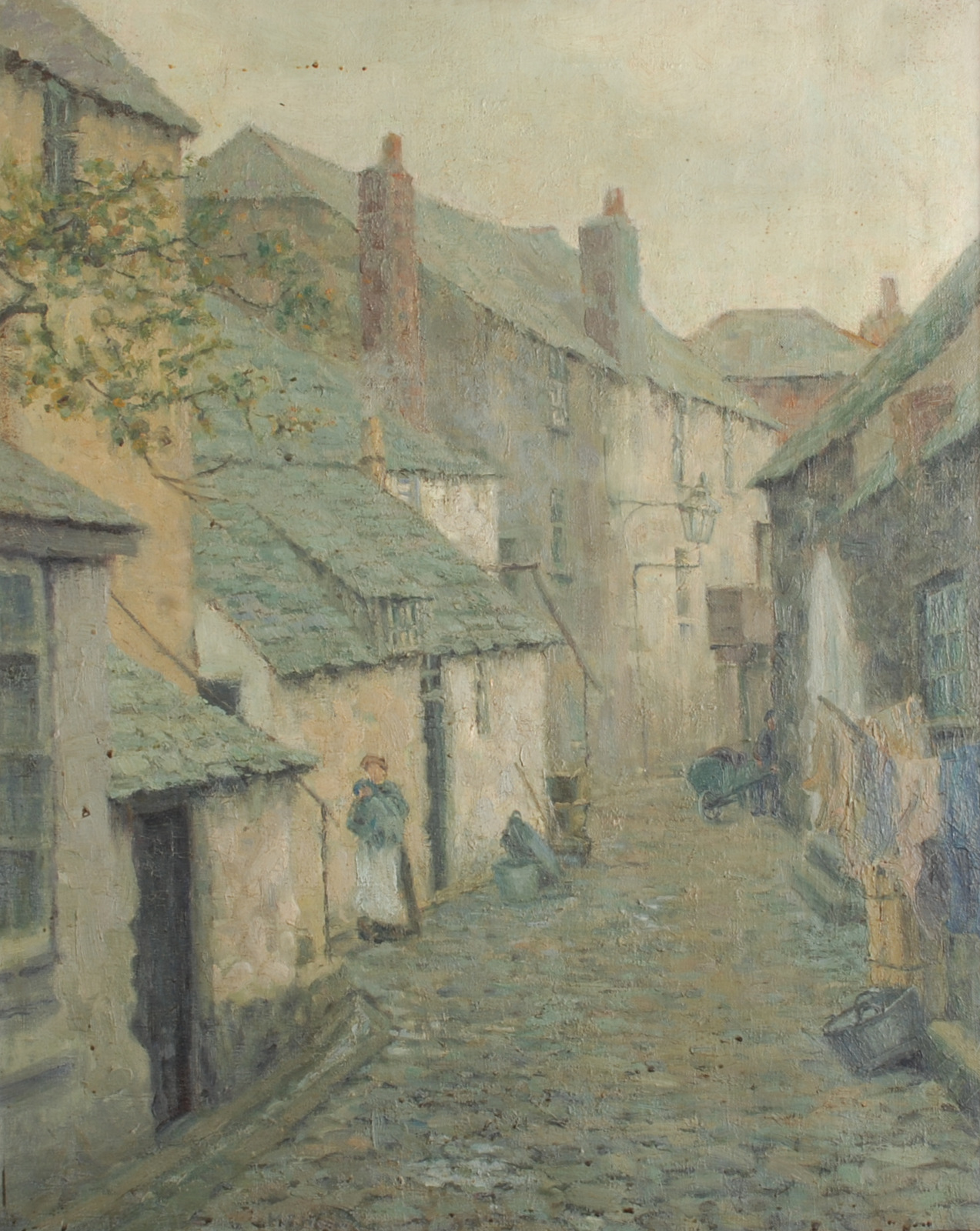 Lot 56 - MARION FRANCES HORN Old St Ives Oil on canvas Indistinctly signed Labels on the back 77 x 61 cm