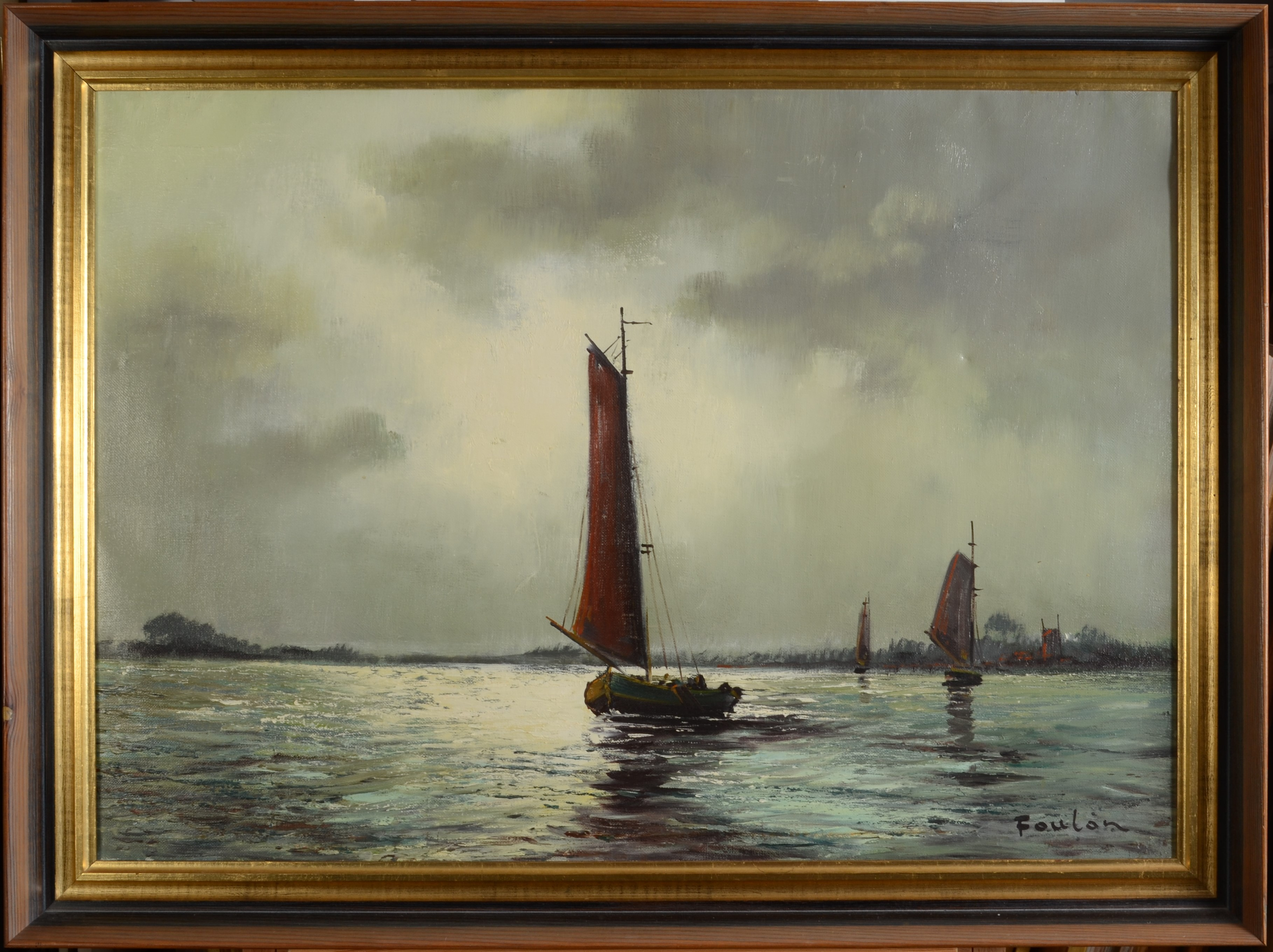 Lot 40 - FOULON Sailing barges in moonlight Oil on canvas Signed 50 x 70 cm Together with a gouche by Lou