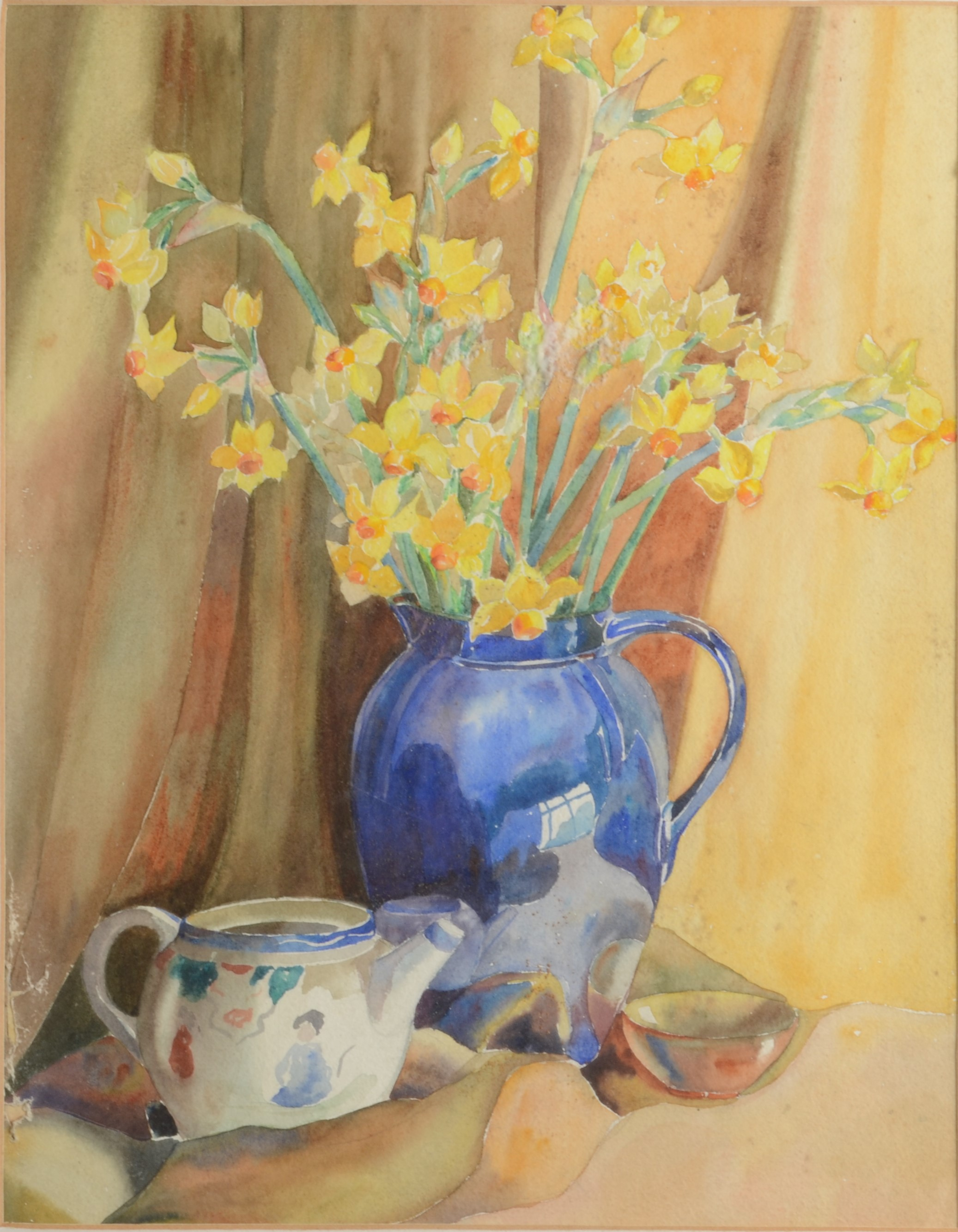 Lot 24 - MARION HOCKING Still Life With Daffodils Watercolour 44 x 35 cm