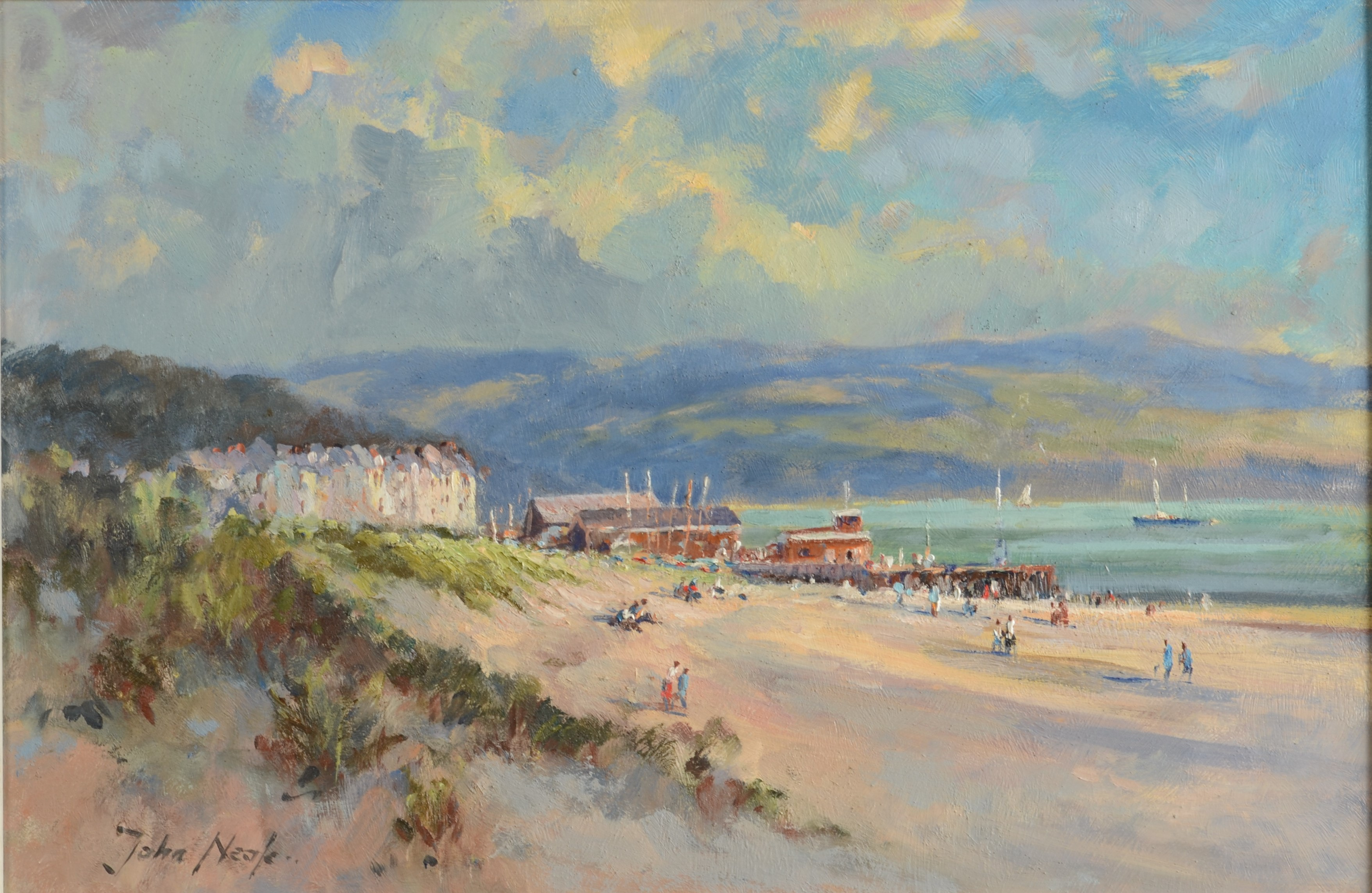 Lot 38 - JOHN NEALE Aberdovey Beach Oil on board Signed 30 x 45 cm Condition report: This is
