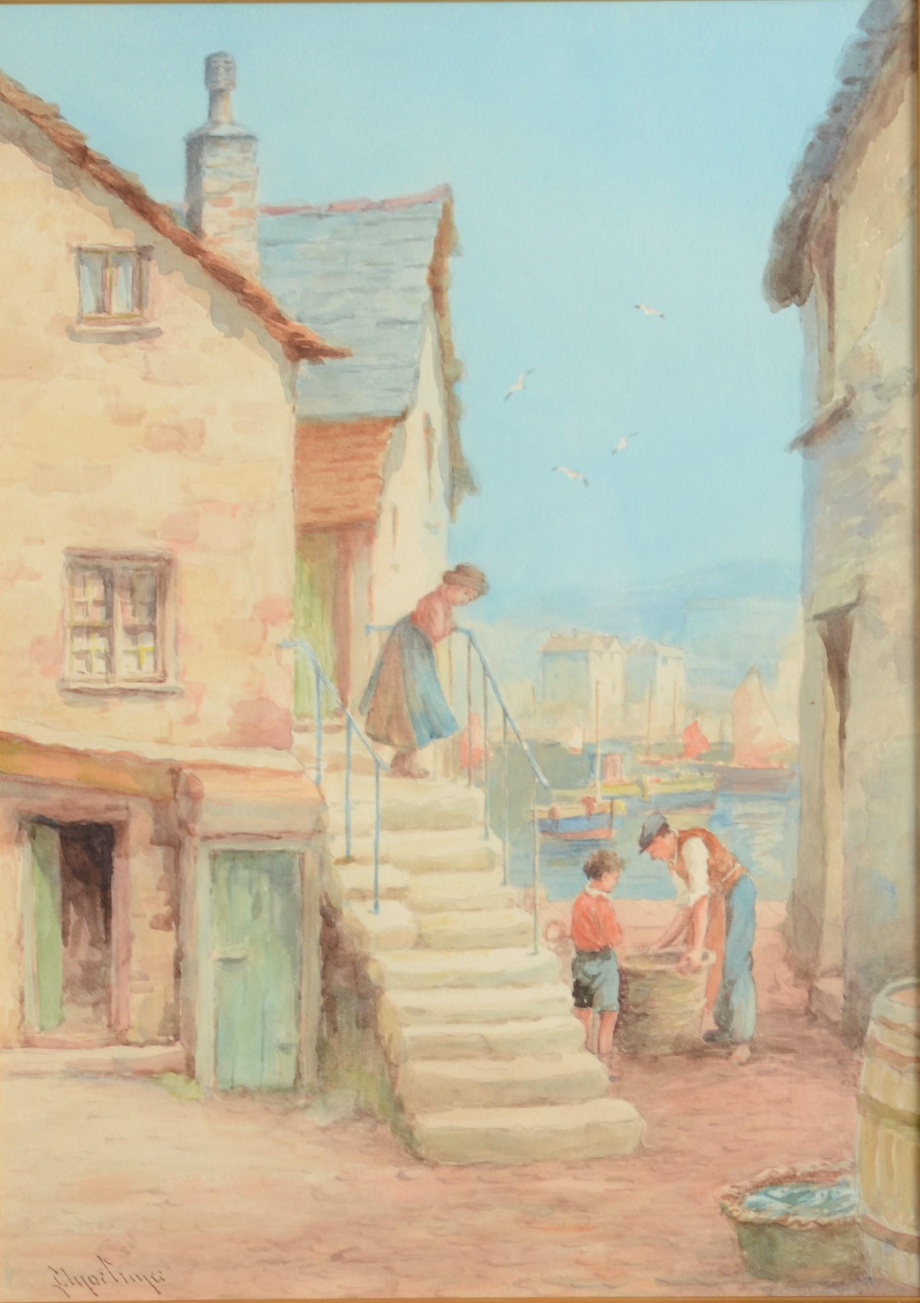 Lot 22 - LEWIS MORTIMER Fishing Harbour Scene Watercolour 36 x 26 cm