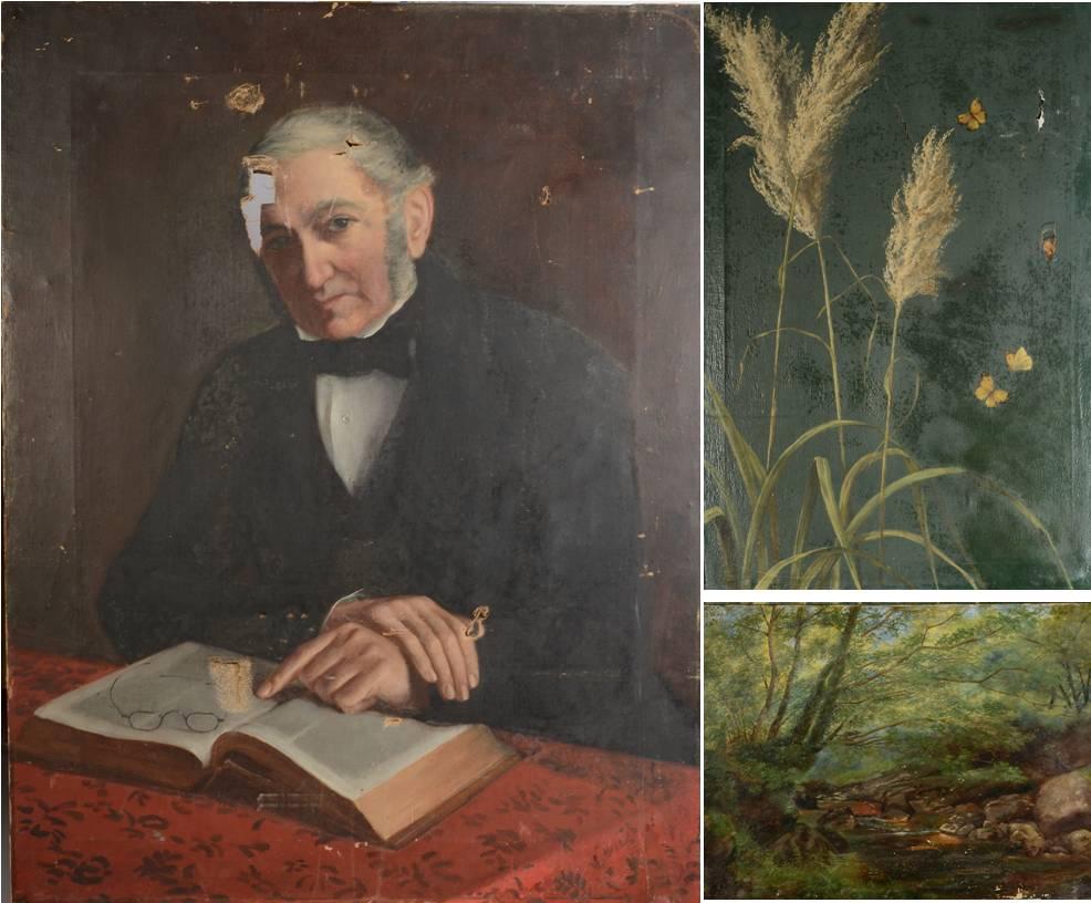 Lot 4 - Portrait of an elderly gentleman reading Oil on canvas 91.
