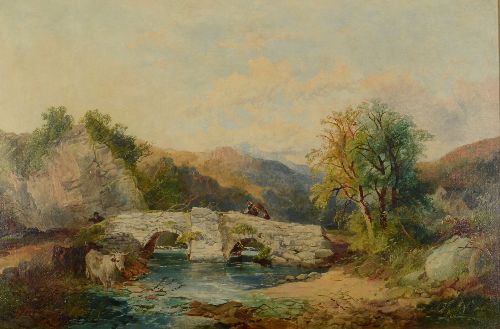 Lot 3 - JOSEPH HORLOR People crossing a bridge in a mountain landscape Oil on canvas Signed Indistinct