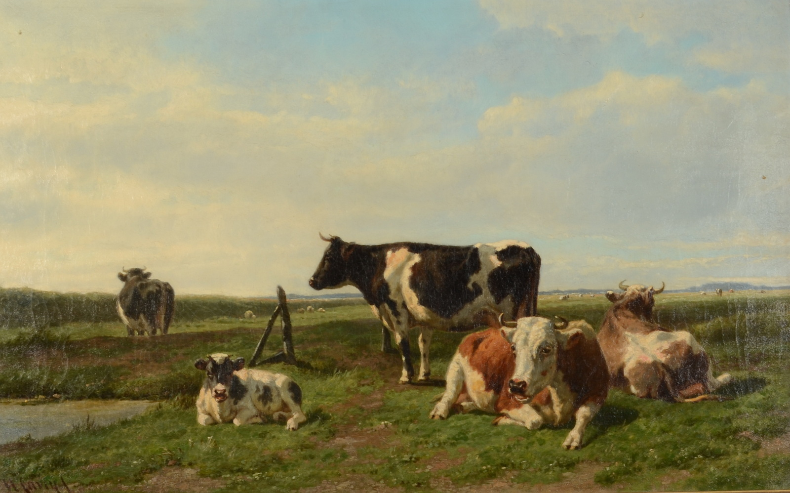 Lot 1 - HENDRICK SAVRY Cattle and sheep in a sunlit field Oil on canvas Signed 50 x 80cm