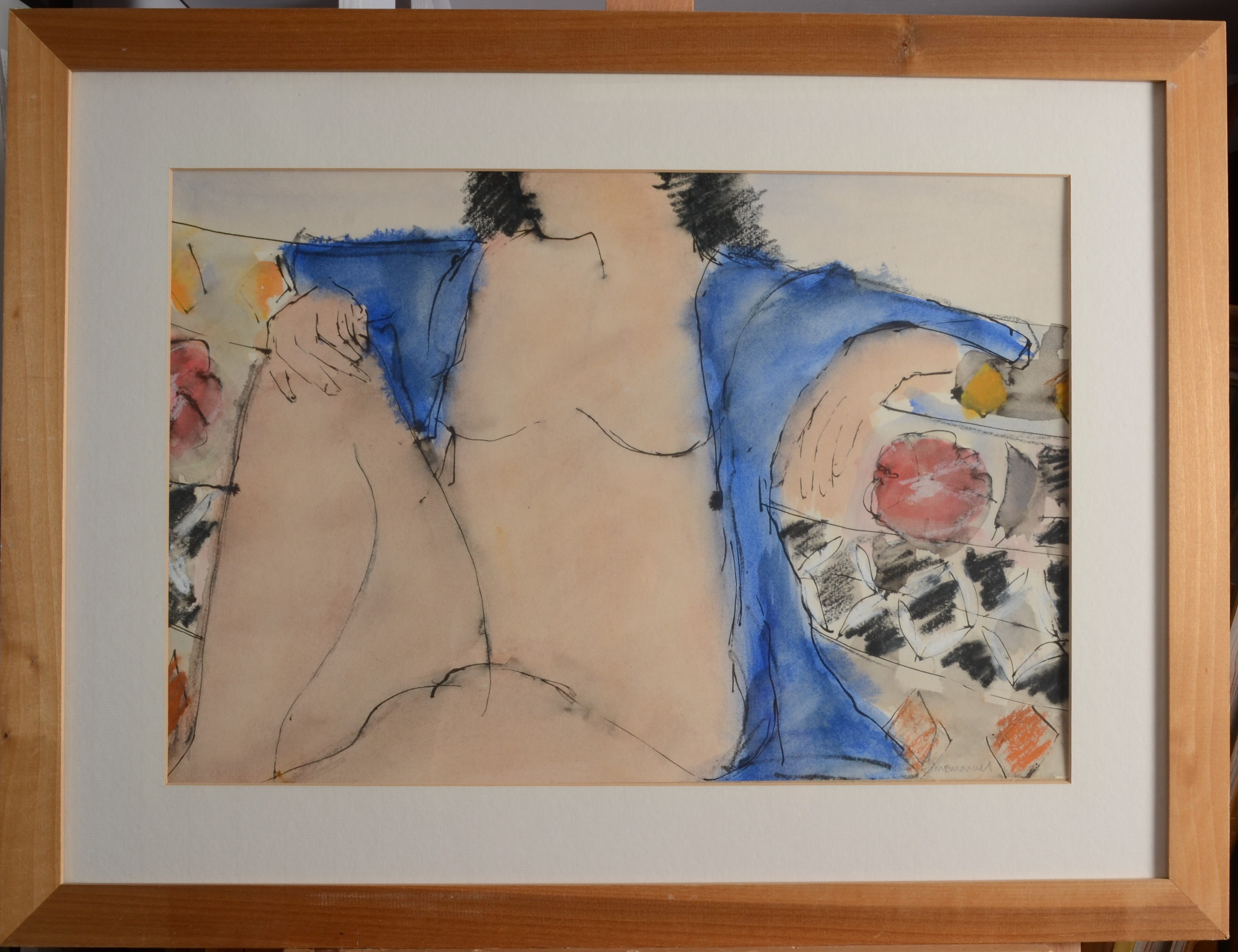 Lot 44 - JOHN EMANUEL Figure With Blue Watercolour Signed 35 x 52 cm