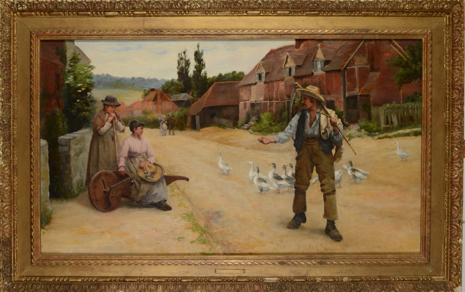 Lot 2 - PERCY ROBERT CRAFT Returning farm worker Oil on canvas Remnants of a label on the back with the