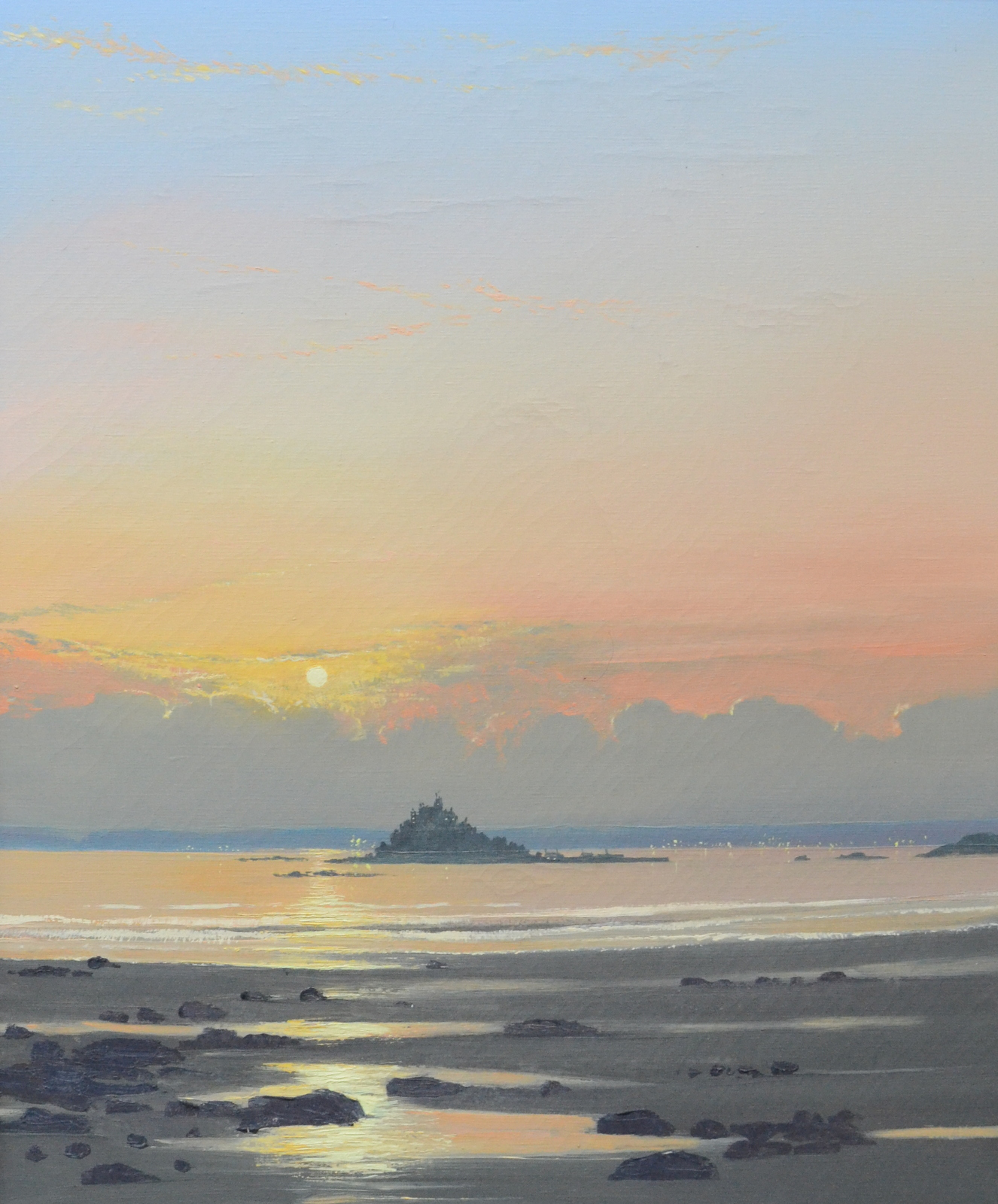 Lot 55 - JOHN MILLER Mounts Bay Evening Oil on canvas Inscribed on the back 61 x 51 cm Condition