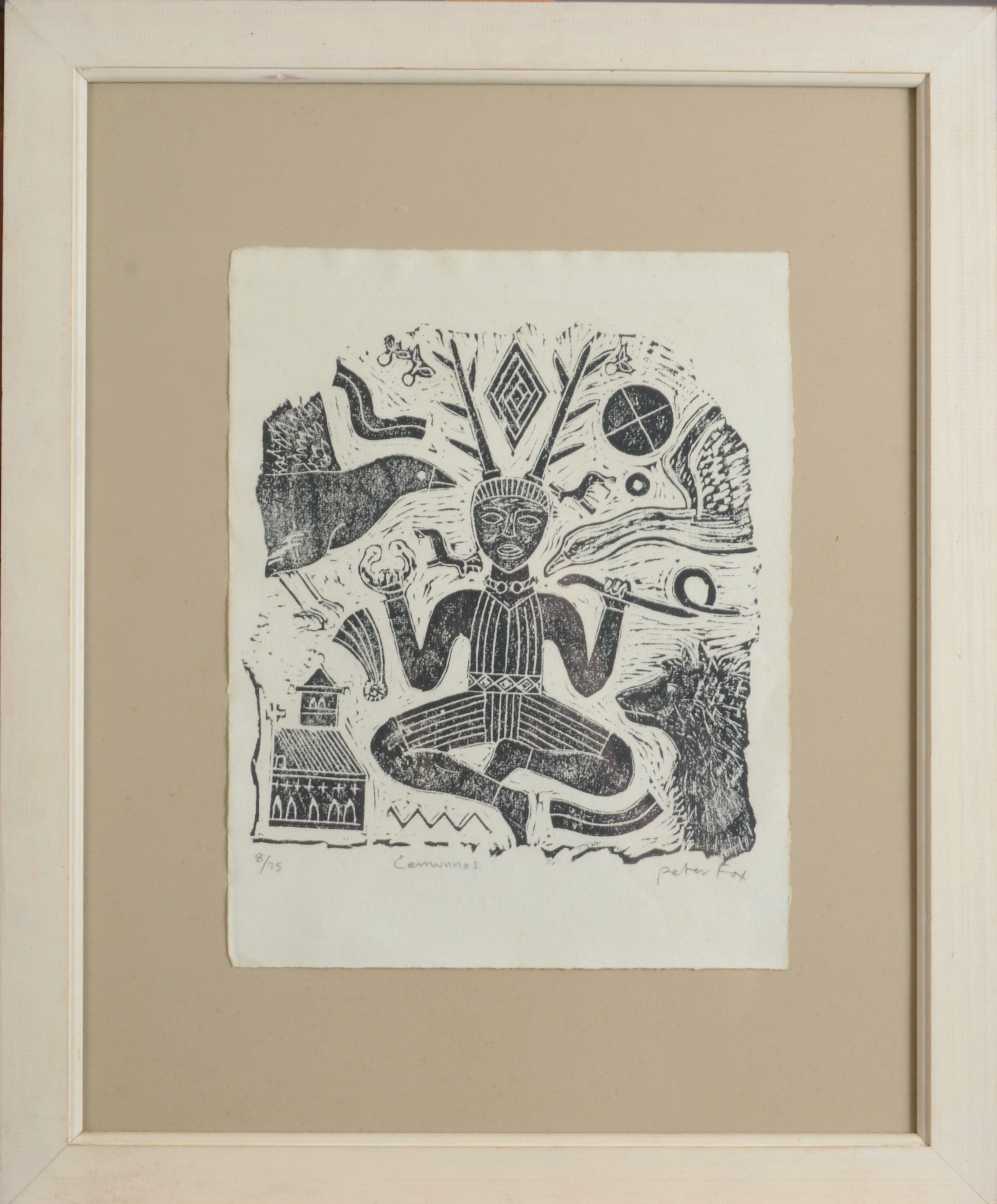 Lot 23 - PETER FOX Cernunnos Stone cut print Signed and titled Numbered 8/75 33 x 26 cm Plus two other