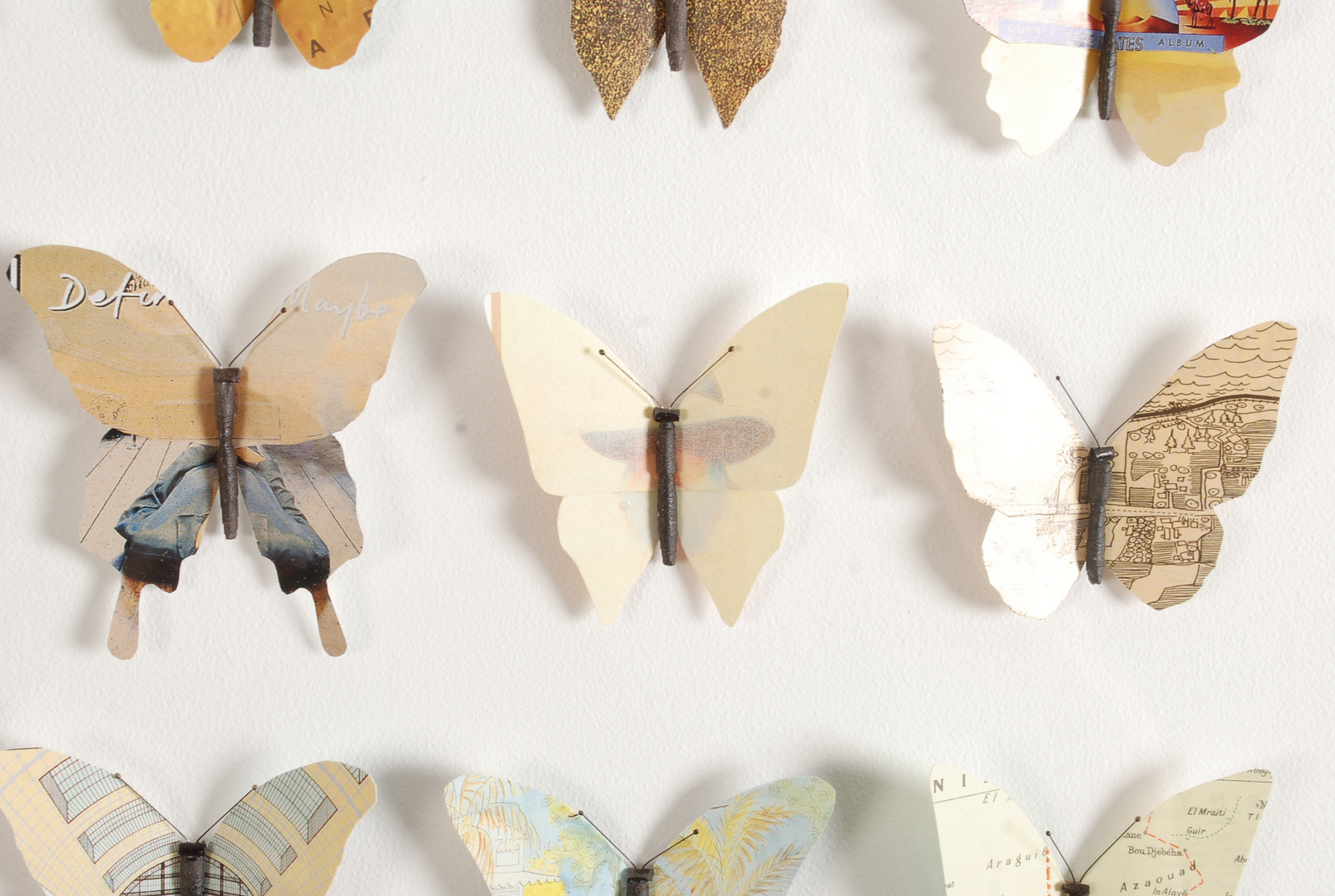 Lot 54 - JAMES STEWART 36 Yellow Butterflies Mixed media Inscribed on the back 2013 67 x 68 cm