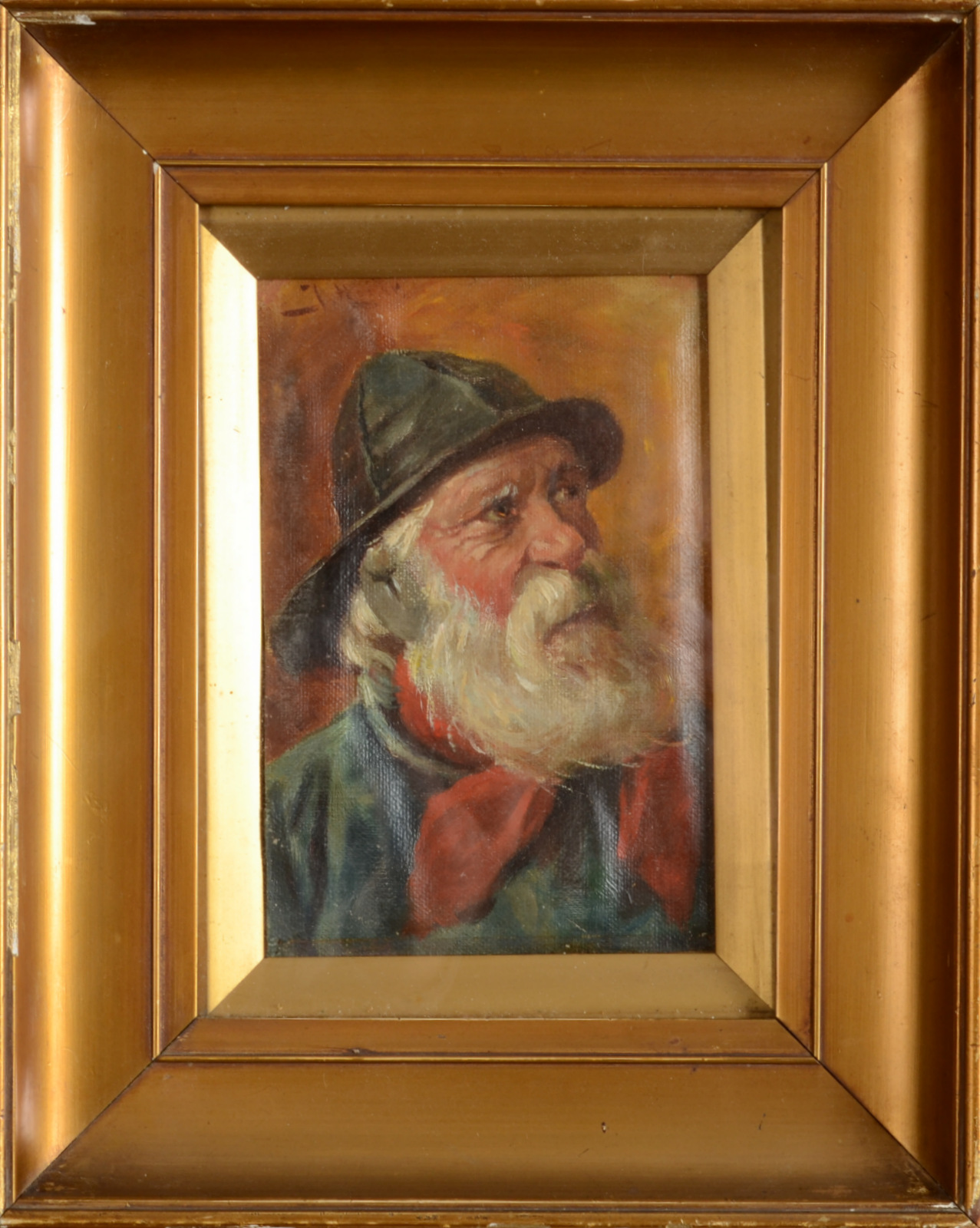 Lot 9 - Portrait of a Fisherman Oil on canvas Indistinctly signed 16 x 11 cm