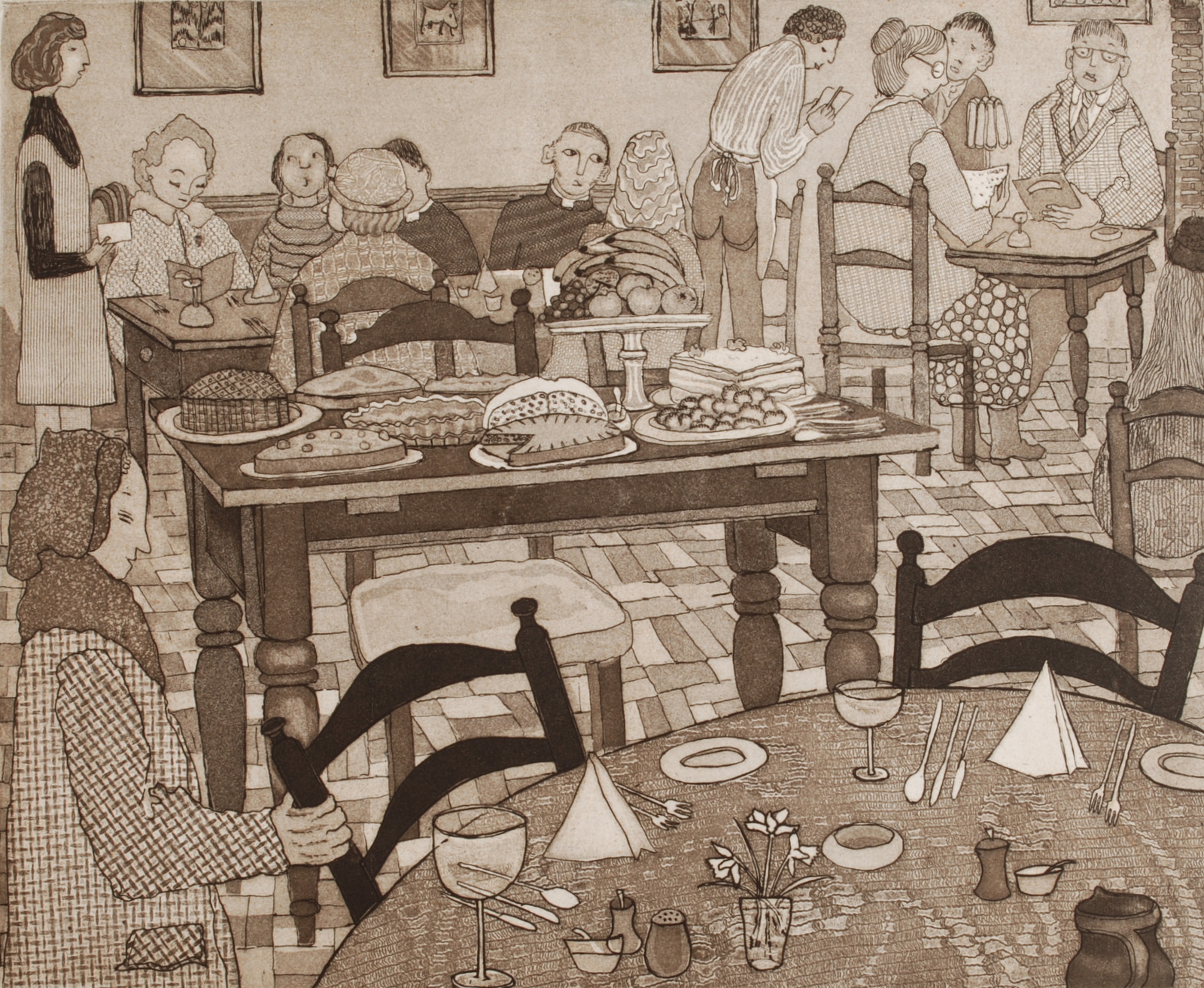 Lot 58 - DOROTHY BORDASS The Cake Table Engraving Signed and dated Numbered IV/XII 1977 25 x 30 cm