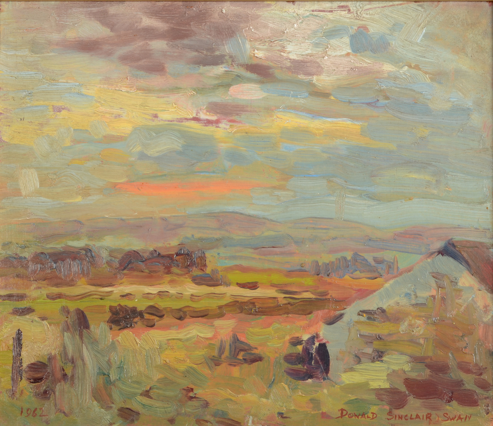 Lot 7 - DONALD SINCLAIR SWAN Westward from Castle Gate Oil on board Signed and dated Label on the