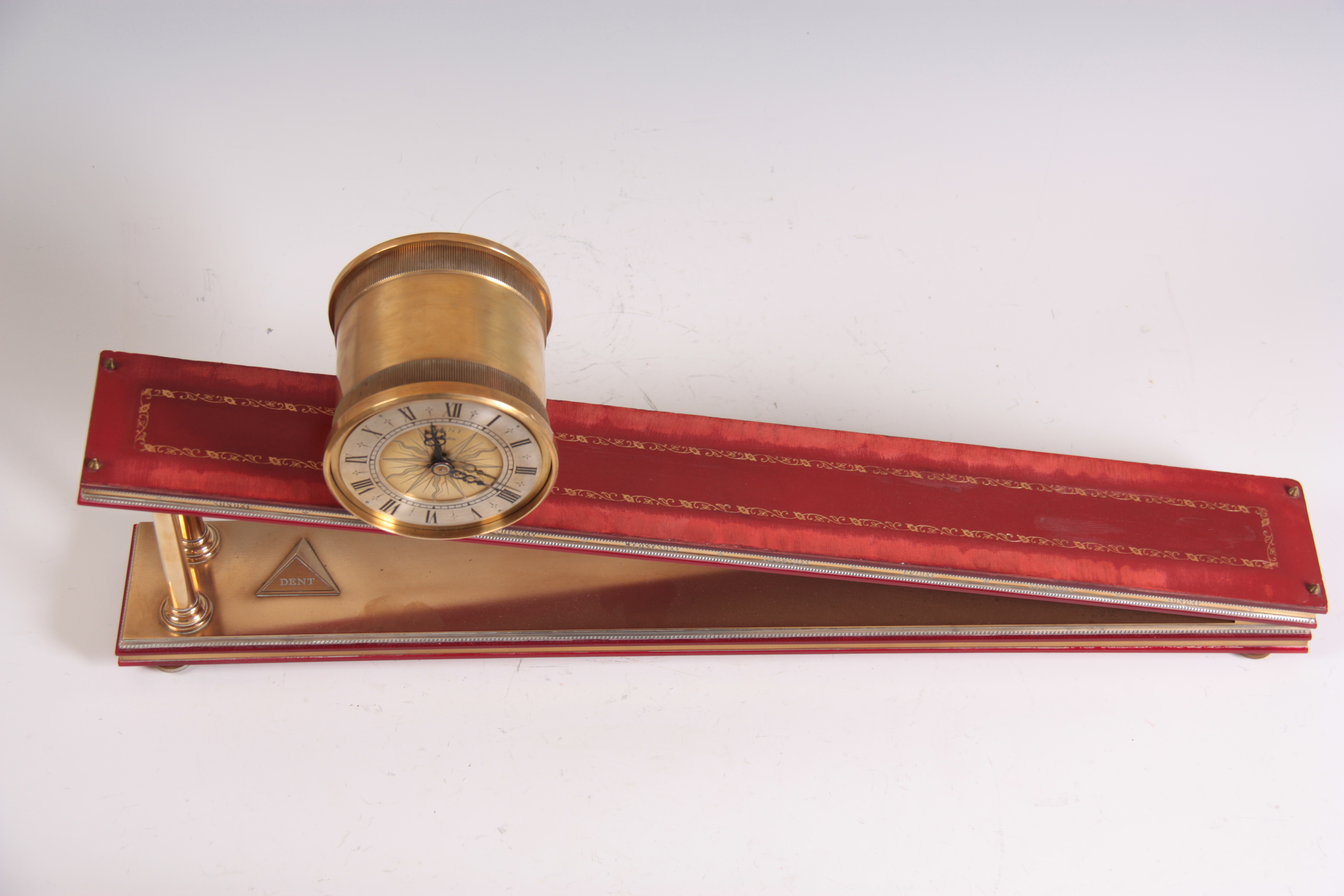 """Lot 823 - DENT LONDON AN INCLINE PLANE 'ROLLING DRUM' MYSTERY CLOCK the brass drum case with 5"""" silvered"""