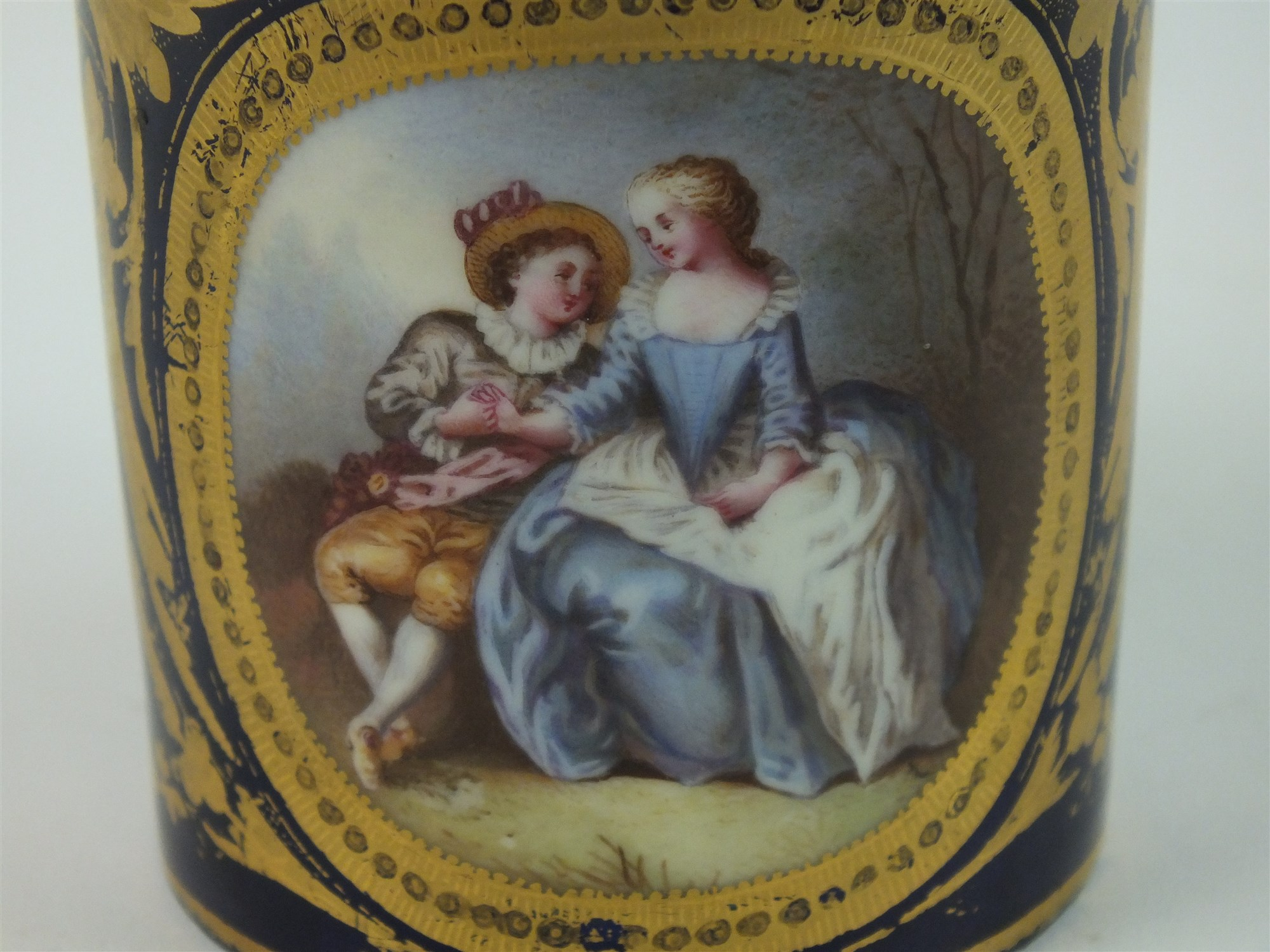 Lot 50 - A Sevres porcelain coffee can
