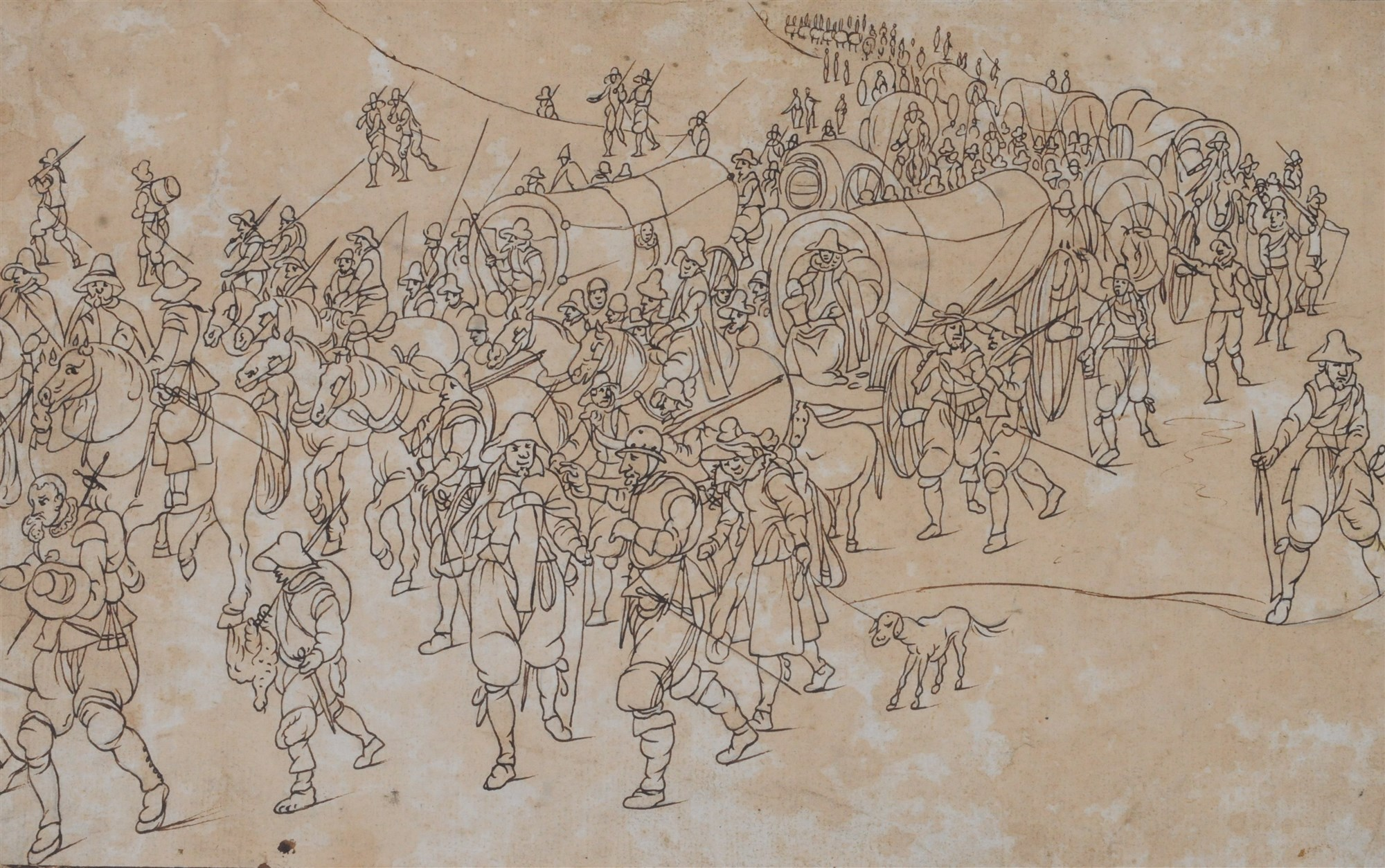 Lot 59 - Follower of Pieter Bruegel, Army on the March