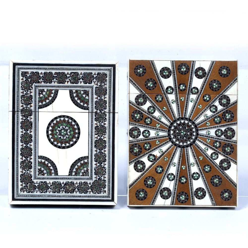 Lot 31 - Two card cases Indian both ivory mounted, the first decorated with a sedeli style mosaic around