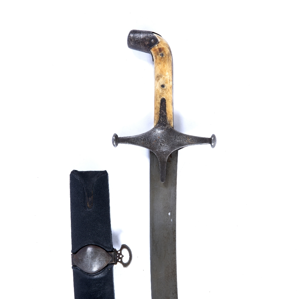 Lot 40 - Child's shamshir sword Persia, 19th Century with ivory grip to the top, with a watered steel blade