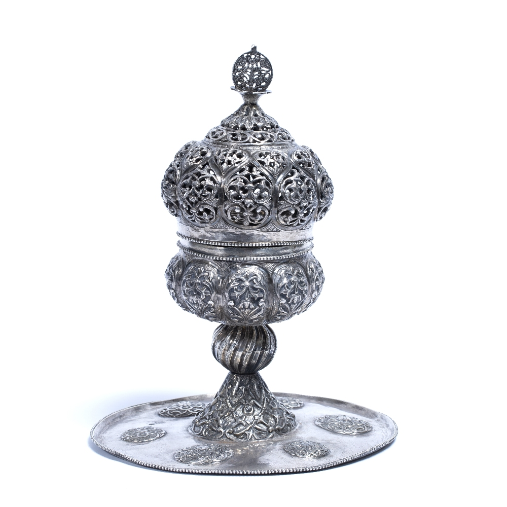 Lot 33 - Ottoman silver Incense-Burner Turkey, 19th century with an openwork top on a hinged base, the