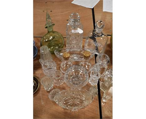 A selection of clear cut and crystal glass wares including Dartington decanter