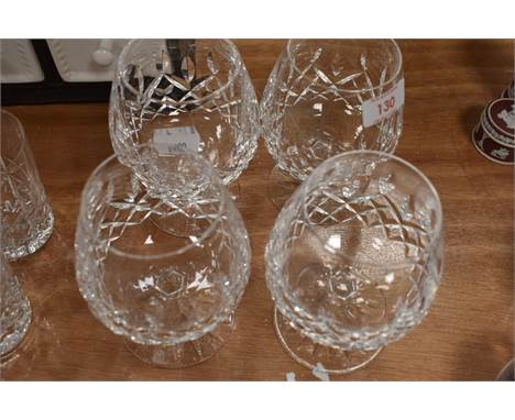 A selection of four clear cut crystal glasses by Waterford in good condition