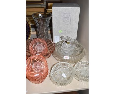 A selection of clear cut and crystal glass wares including boxed Edinburgh vase and pink pressed fruit bowl set