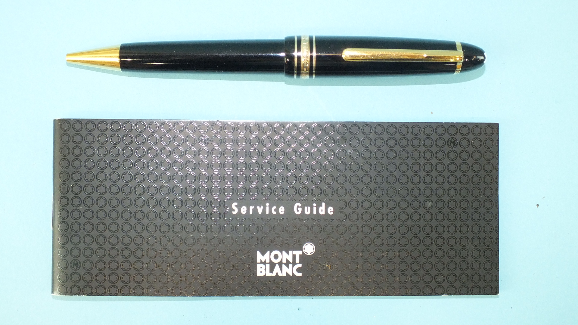 Lot 121 - A Mont Blanc Meisterstück ballpoint pen numbered HZ2042068, with service guide.