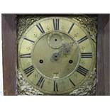 An early-19th century twin-train bell-striking clock movement with associated 10'' brass dial,