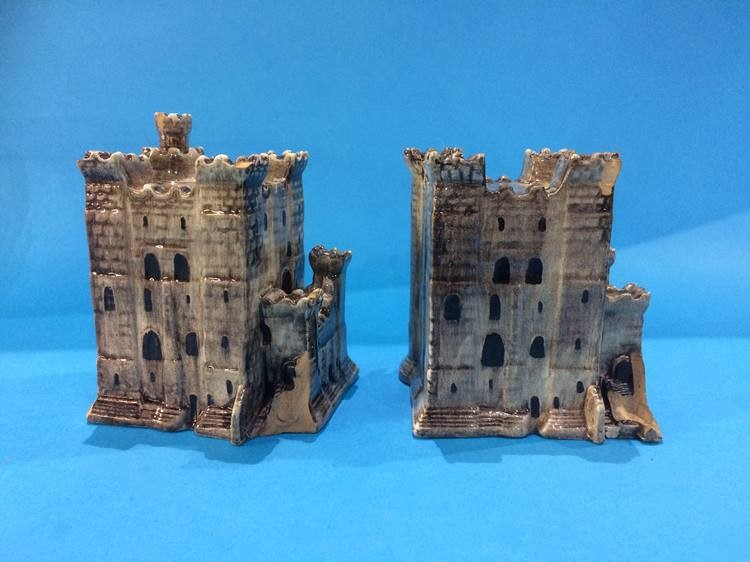 Lot 18 - Two Maling 'Models of the Old Castle' made for the North East Coast Exhibition, May 1929 (a/f)