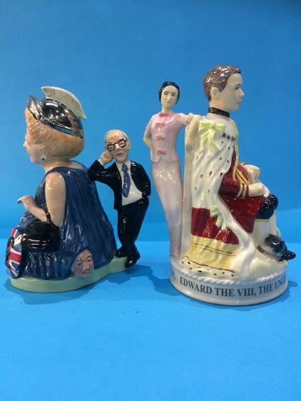 Lot 53 - Two Peggy Davis figure groups, 'Edward and Wallis' and 'Britannia Thatcher'