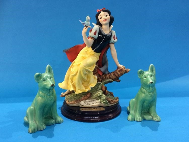 Lot 20 - Figure, Snow White by Giuseppe Armani and two Sylvac dogs