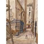 LÉONARD-TSUGUHARU FOUJITA (1886-1968)RUE DE PARIS, 1952Huile sur toile marouflée sur panneauSignée ;