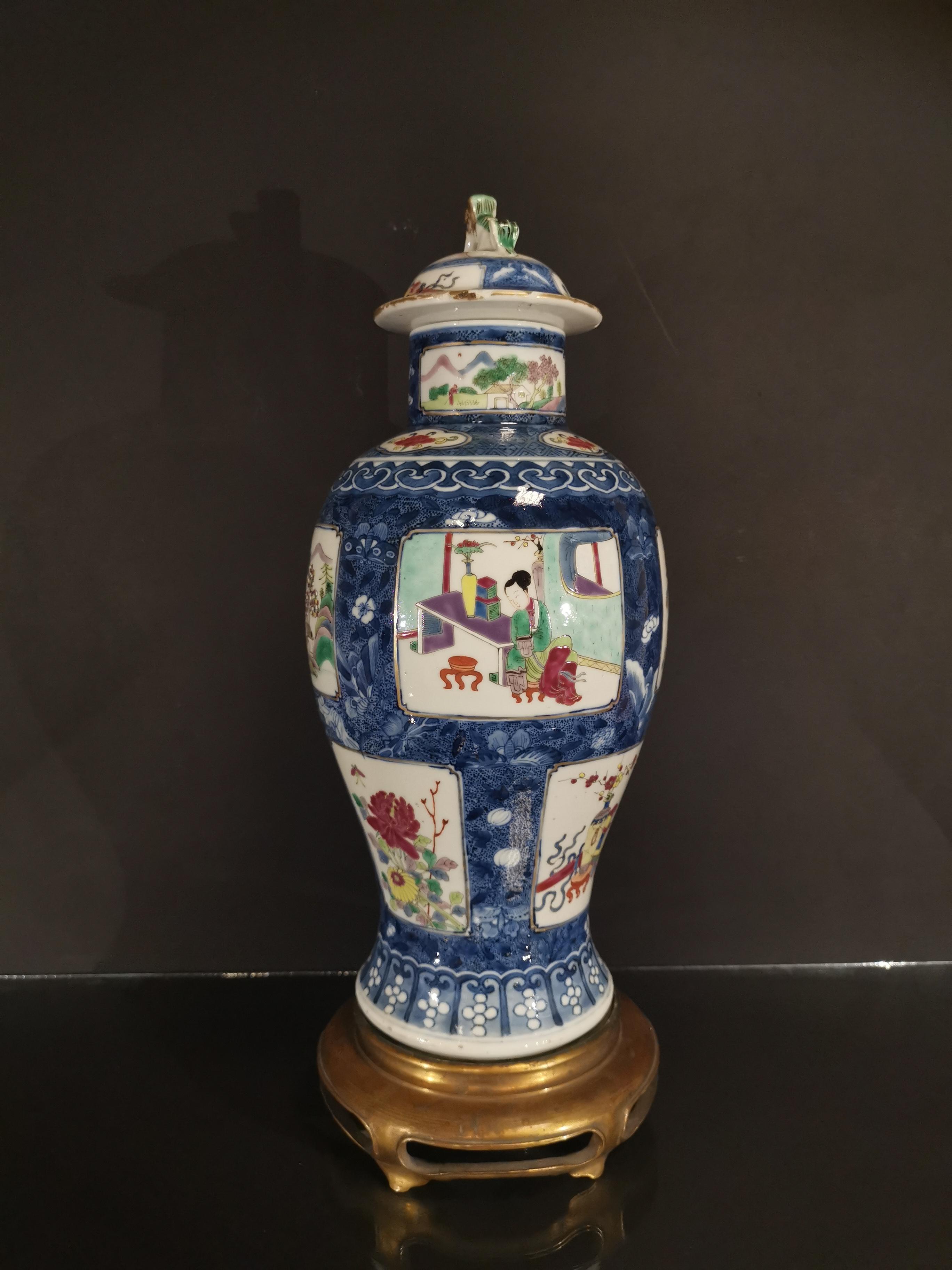 Vase couvert en porcelaine famille rose et bleu blanc Chine, fin du XIXème siècle [...]