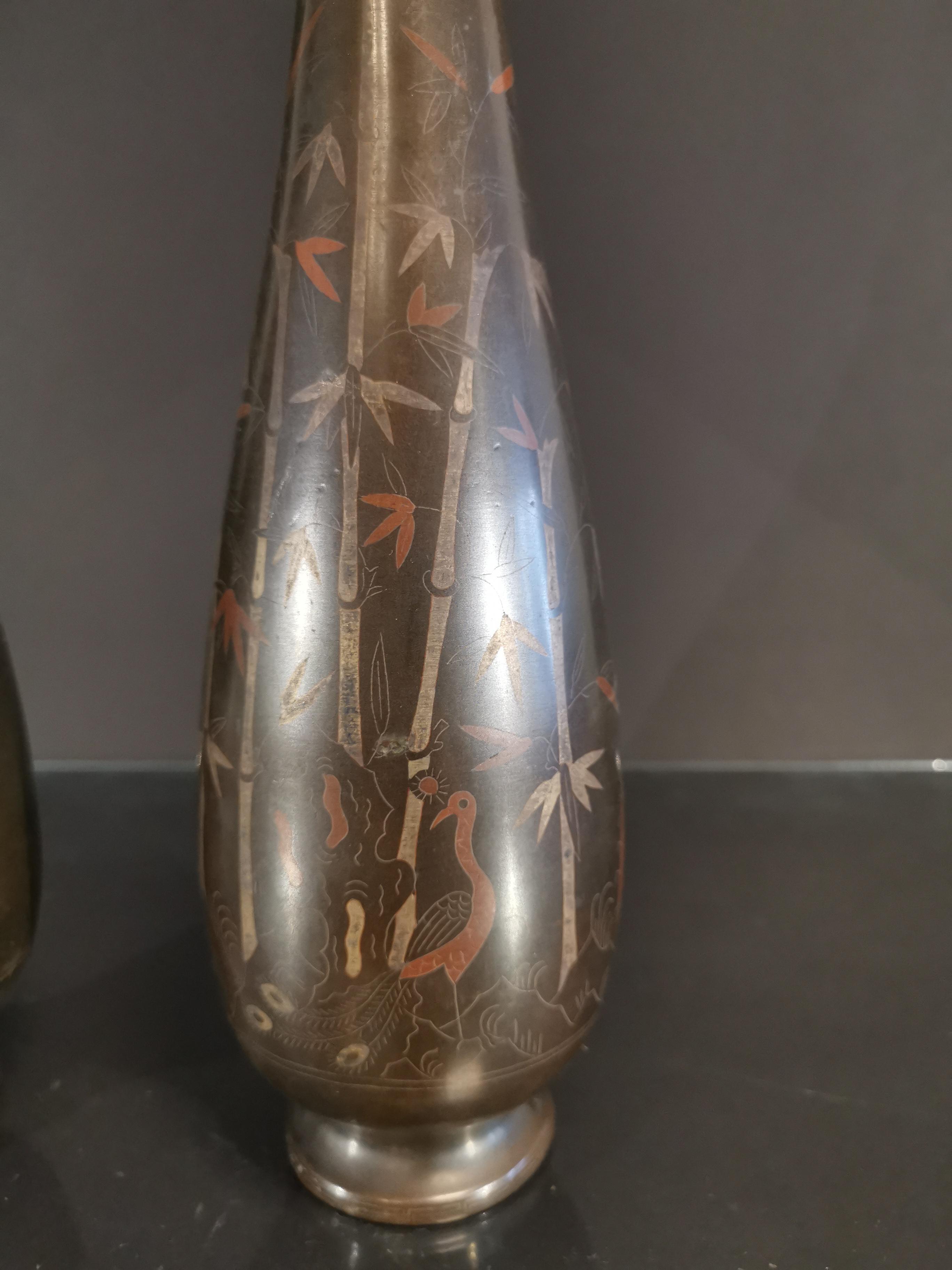 VIETNAM. Paire de vase balustre à décor d'incrustation de bambous. H. : 37,5 cm. - - Image 2 of 2
