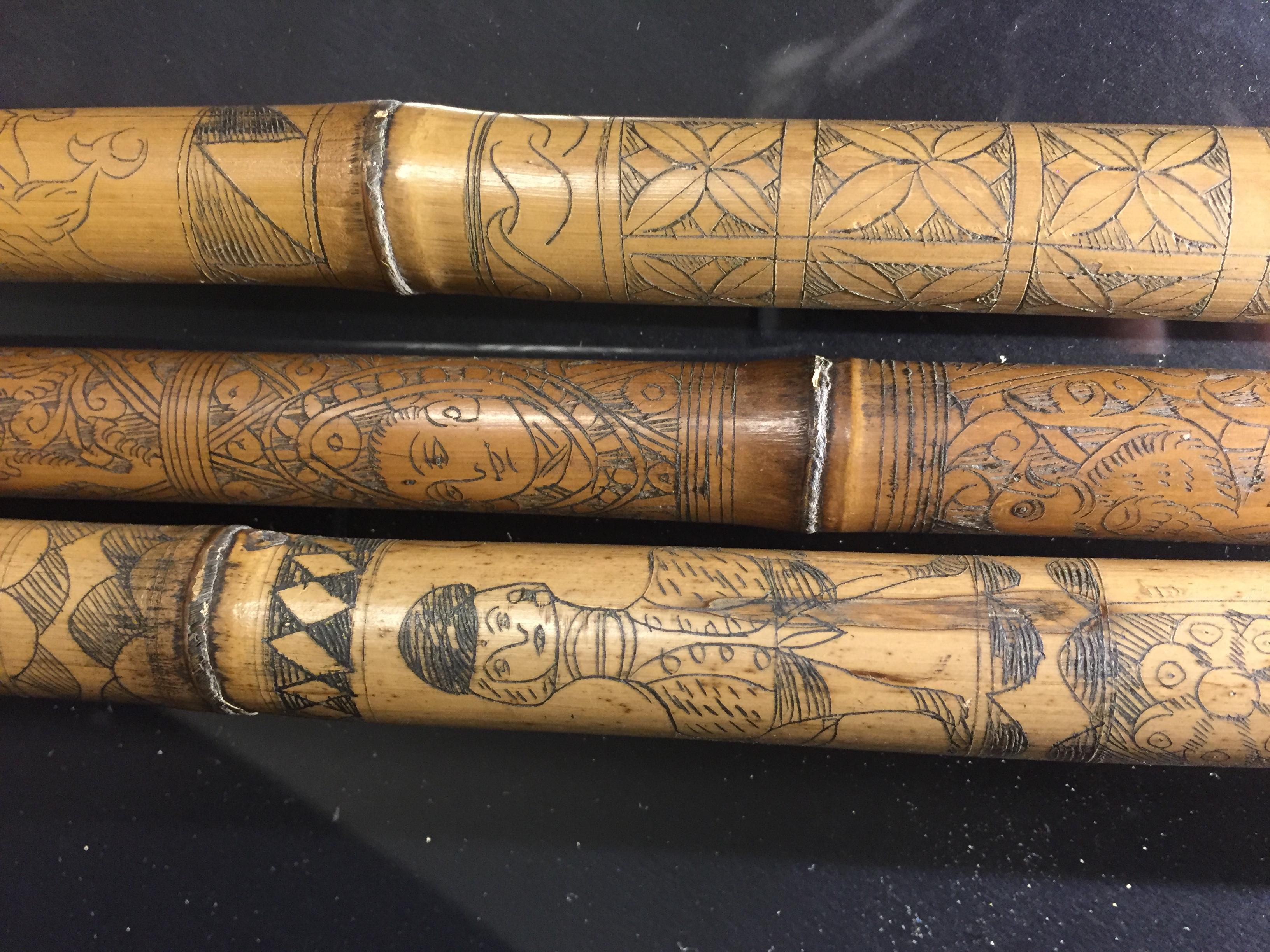IRAN (?). Trois bambous gravés à décor en médaillon de profils de personnages, [...] - Image 3 of 6