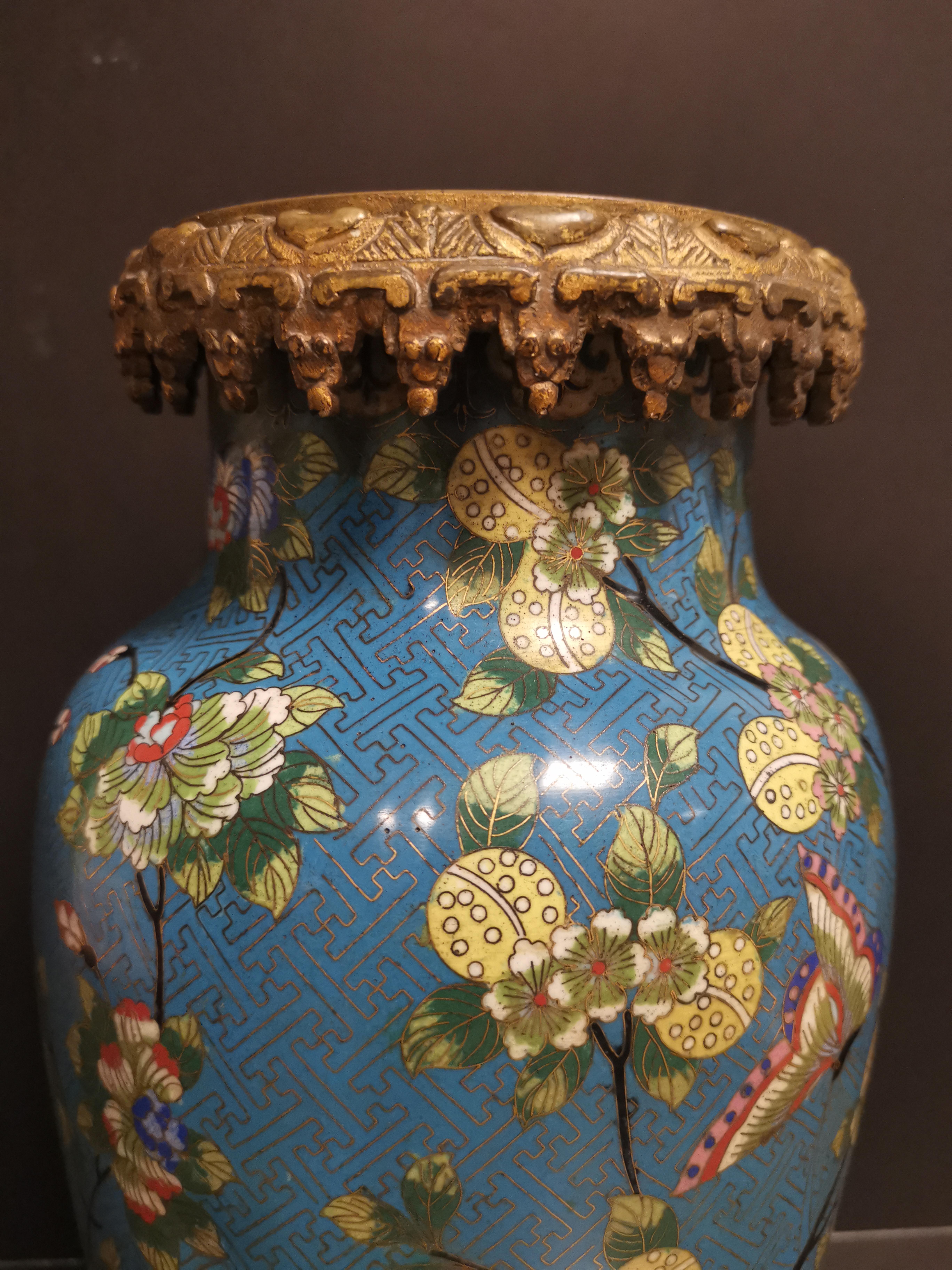 Paire de vases en bronze doré et émaux cloisonnés Chine, début du XXème siècle [...] - Image 4 of 5