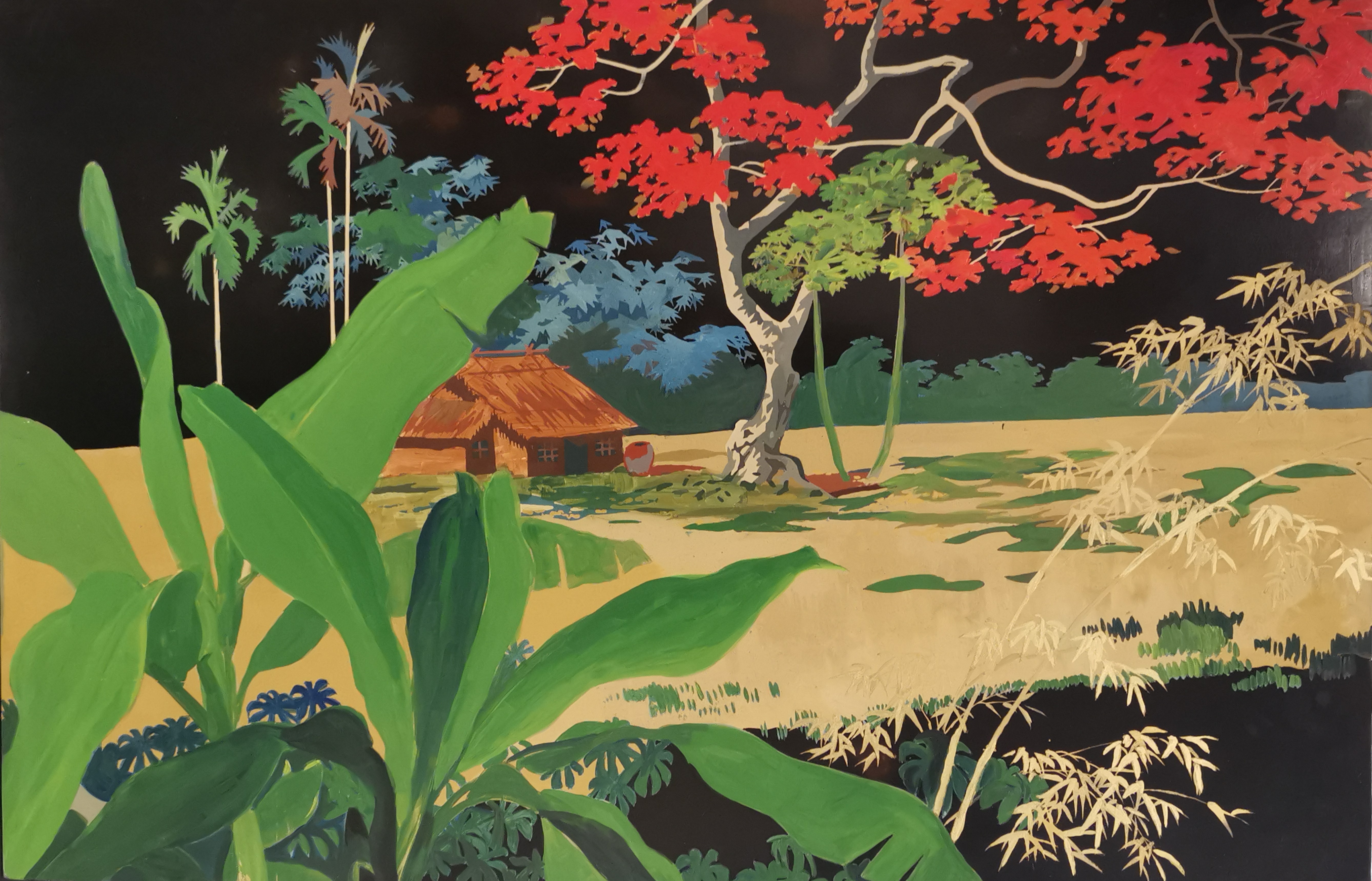 VIETNAM - THANH LE. Maison à l'arbre rouge, panneau laque signé en bas à droite. [...]